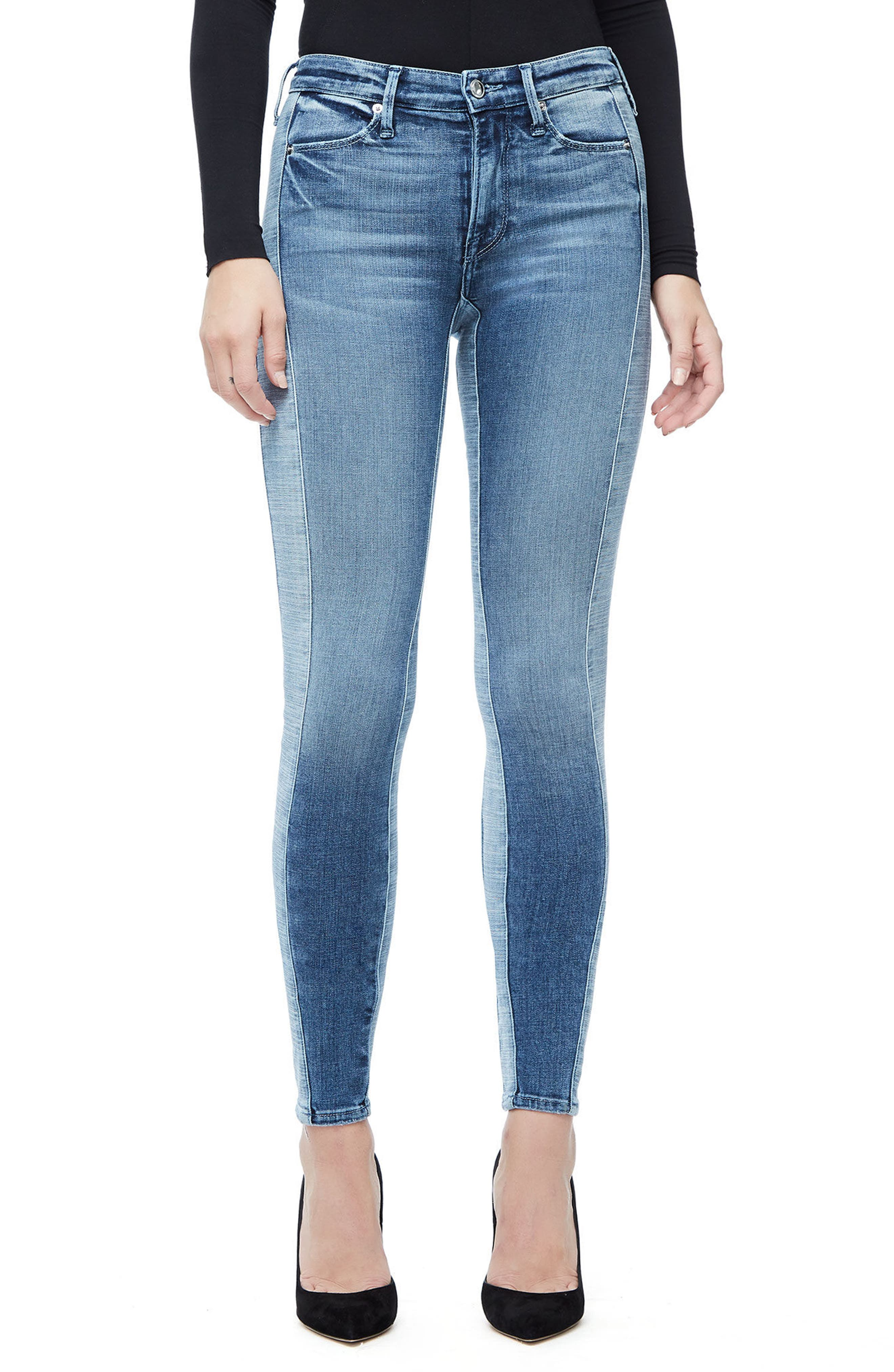 Good Waist Piecing High Waist Skinny Jeans,                             Main thumbnail 1, color,                             Blue128