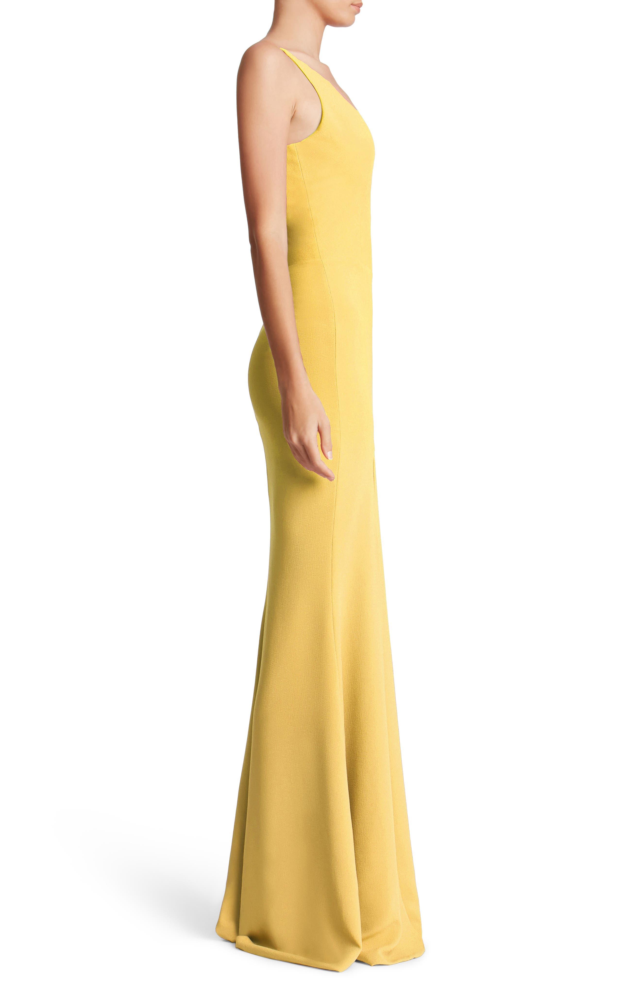 Iris Slit Crepe Gown,                             Alternate thumbnail 3, color,                             Sunflower