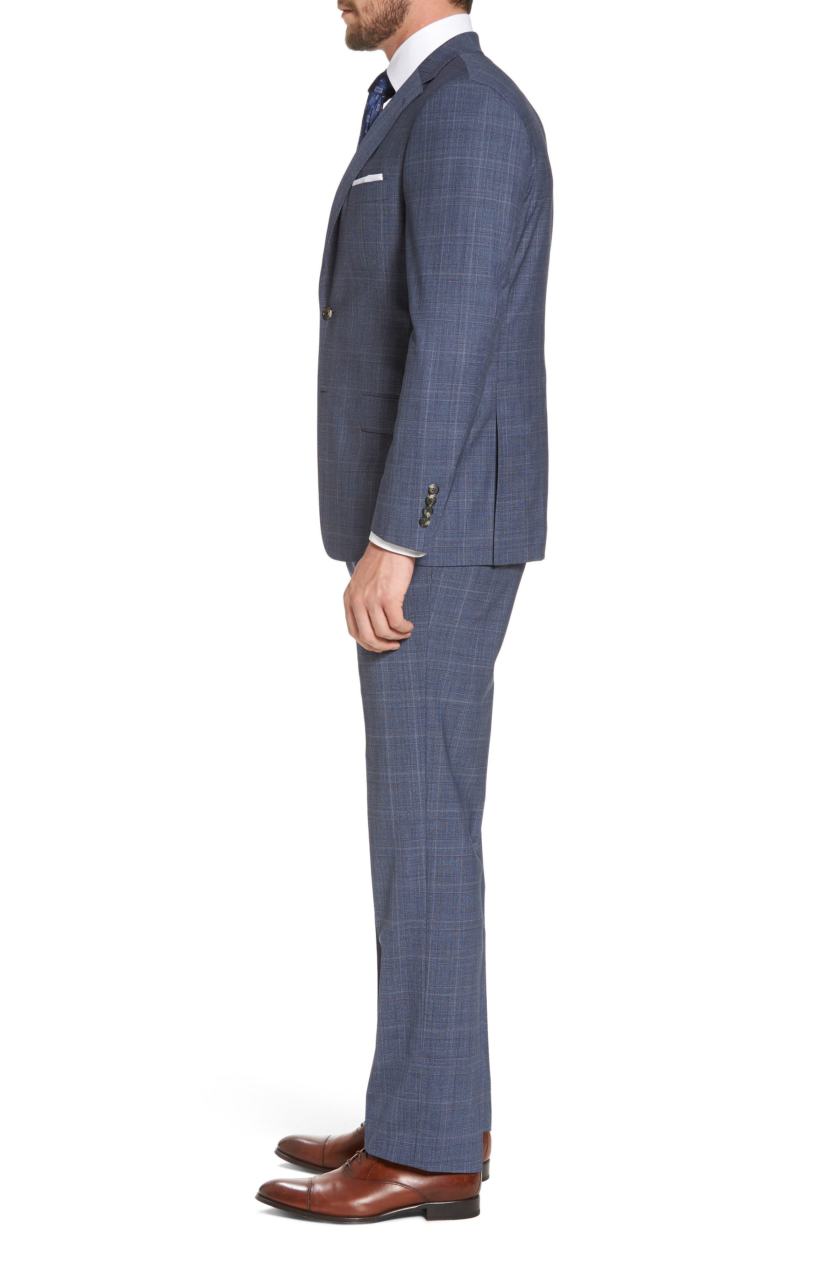 Classic B Fit Plaid Wool Suit,                             Alternate thumbnail 3, color,                             Blue