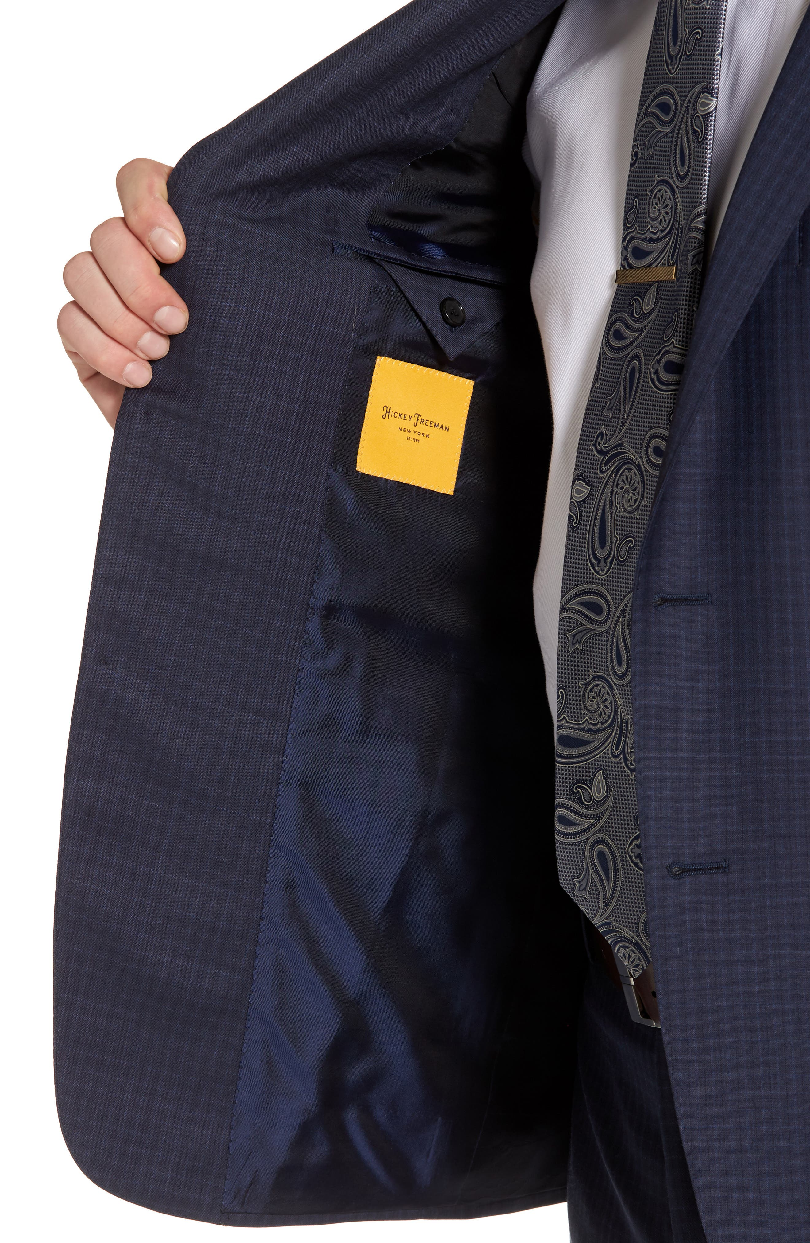 Classic B Fit Check Wool Suit,                             Alternate thumbnail 4, color,                             Navy