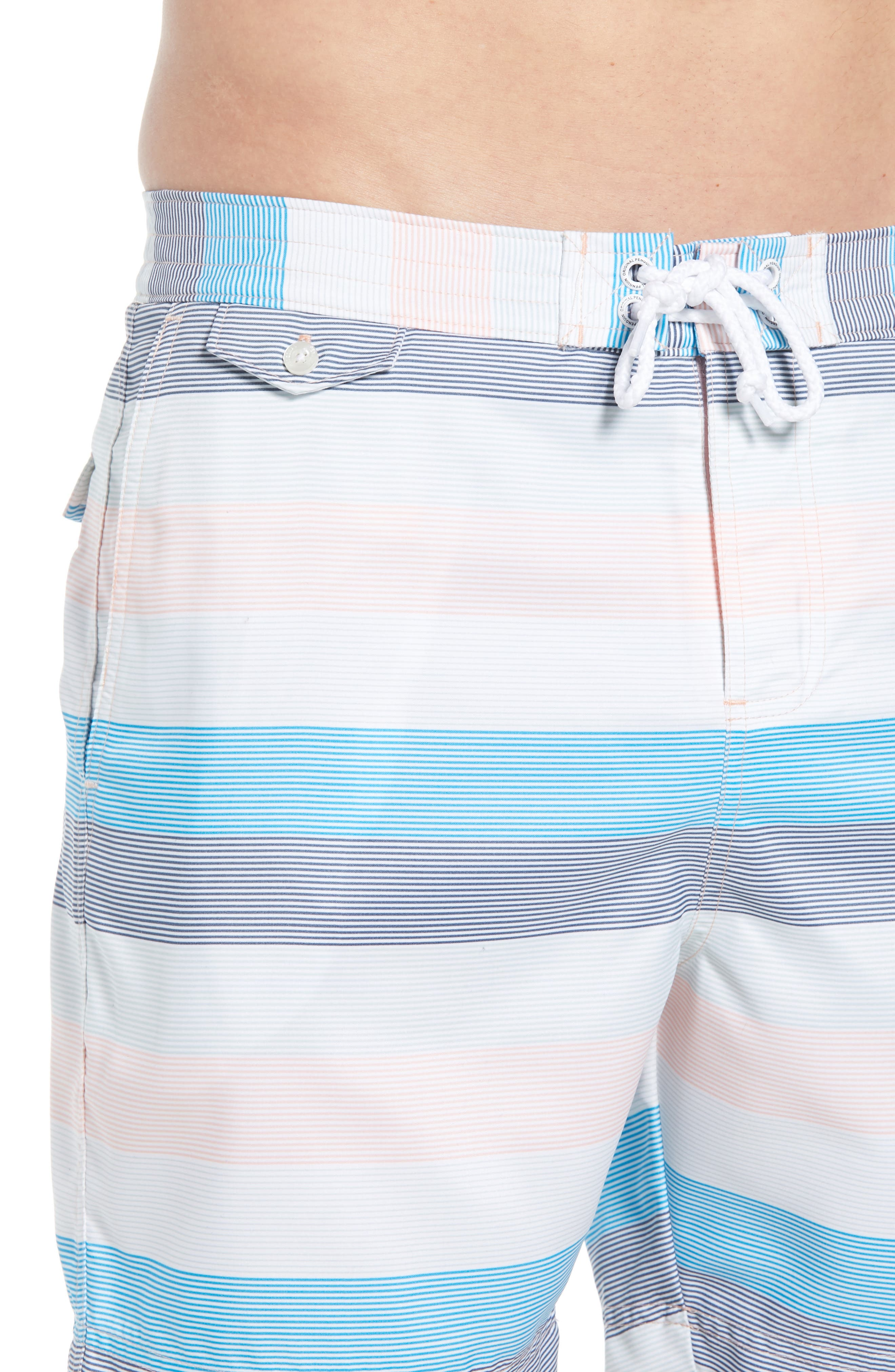 Stripe Volley Board Shorts,                             Alternate thumbnail 4, color,                             Impatiens Pink