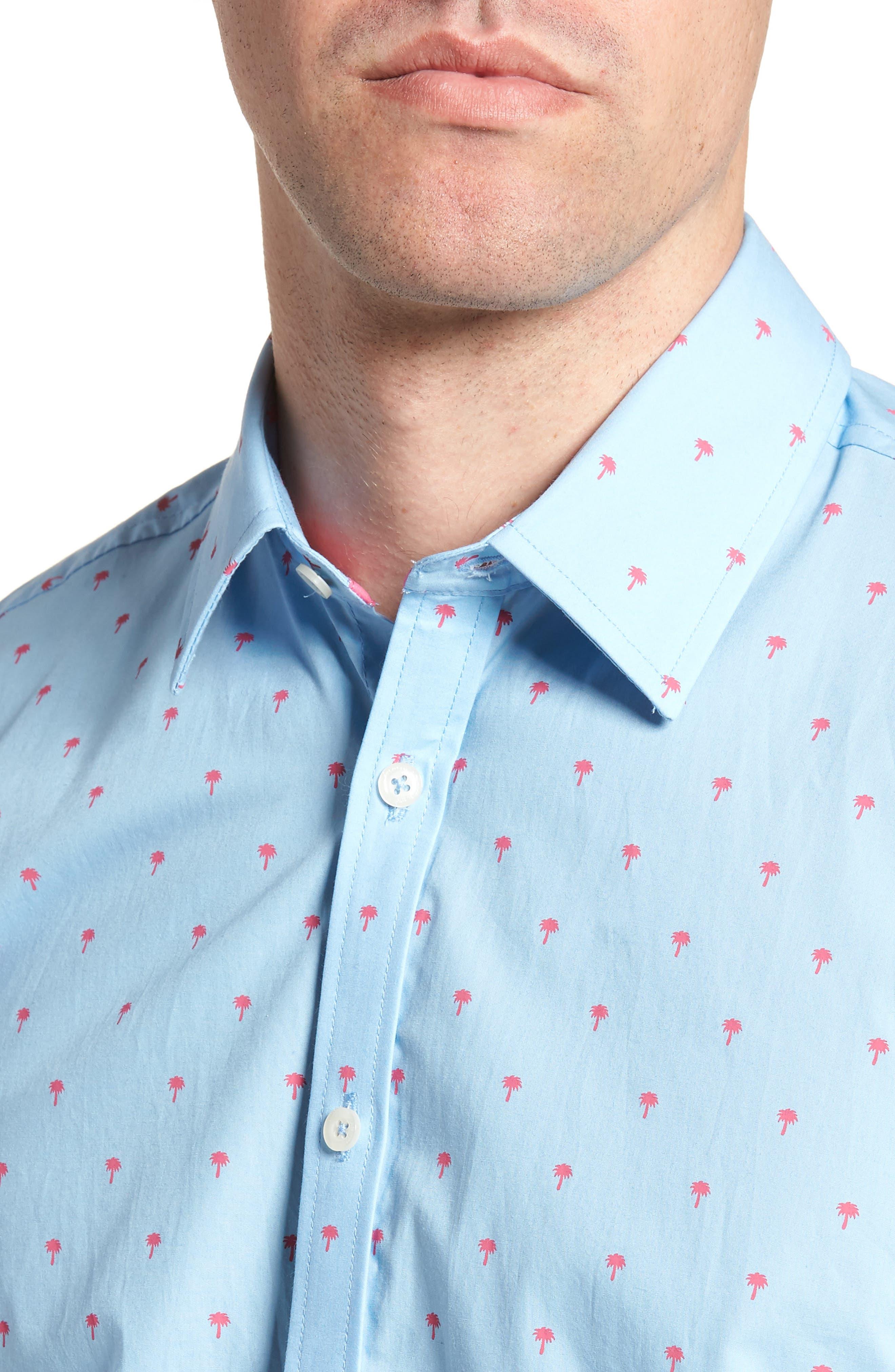 Slim Fit Palm Print Sport Shirt,                             Alternate thumbnail 2, color,                             Light Blue