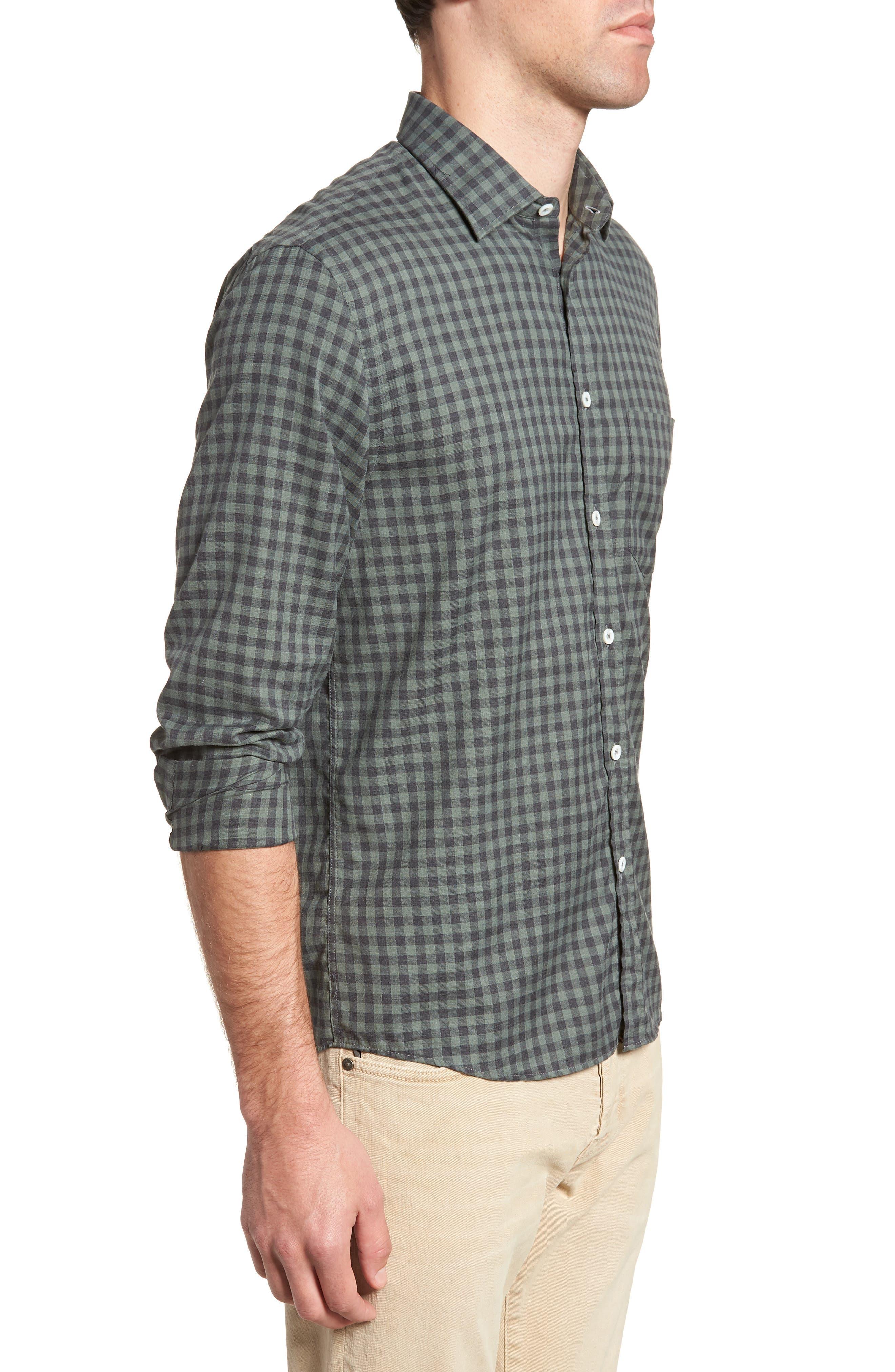 John Standard Fit Check Sport Shirt,                             Alternate thumbnail 4, color,                             Charcoal/ Green