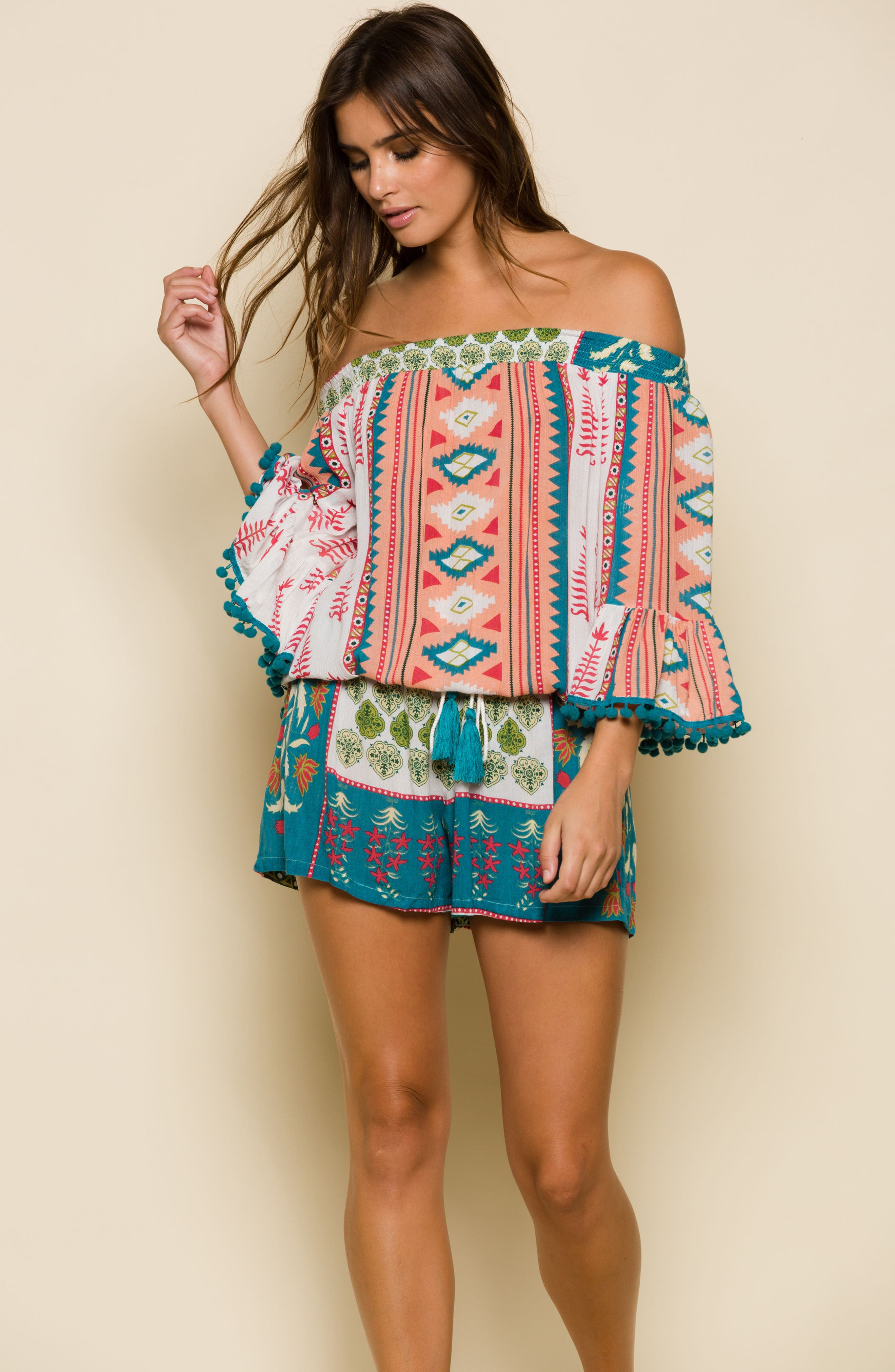 Albuquerque Nights Pom Off the Shoulder Romper,                             Alternate thumbnail 2, color,