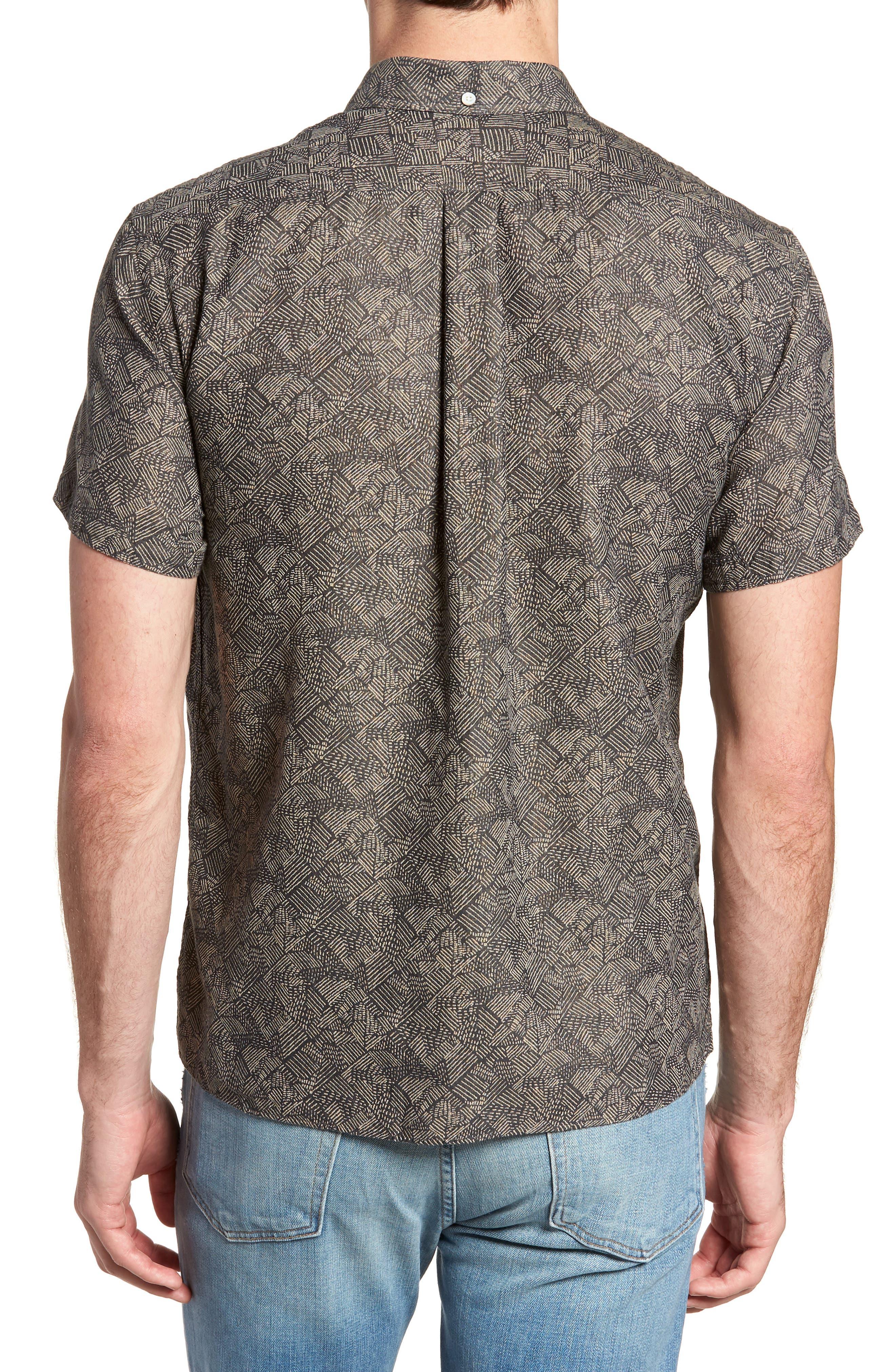 Leo Standard Fit Short Sleeve Sport Shirt,                             Alternate thumbnail 3, color,                             Slate Field Line