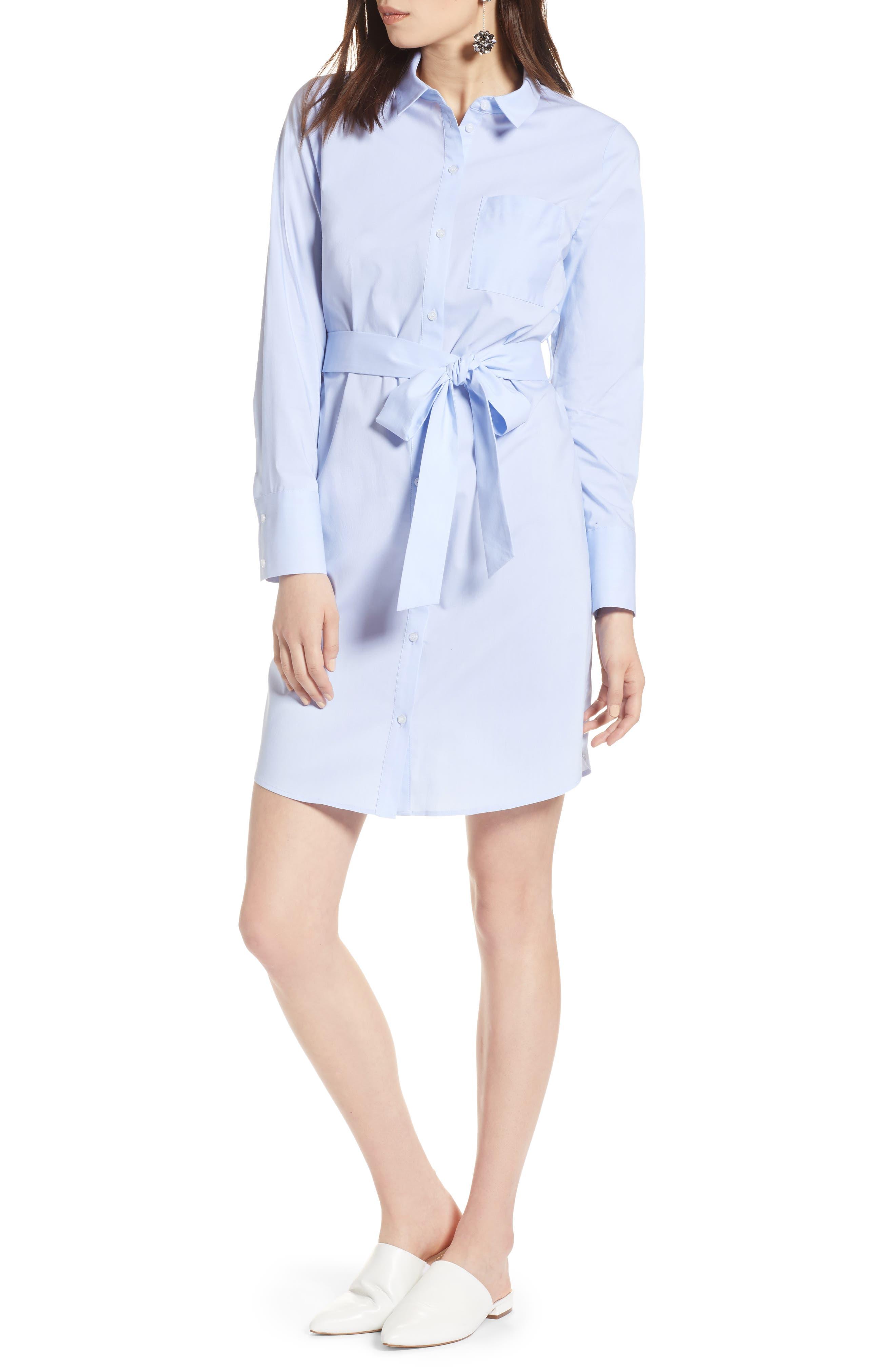 Stretch Cotton Poplin Shirtdress,                         Main,                         color, Blue End Ptn