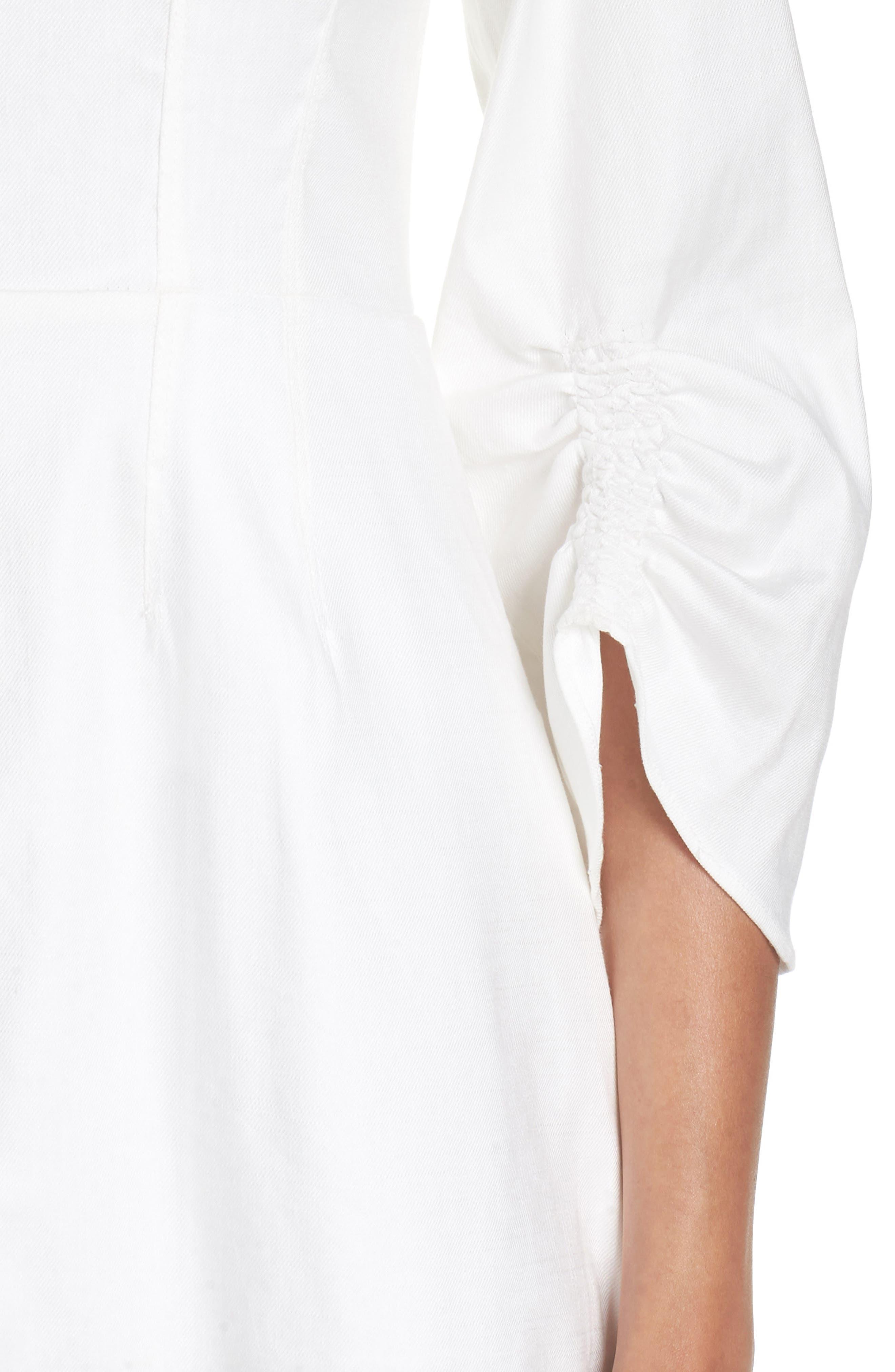 Zip Front Linen Blend Dress,                             Alternate thumbnail 4, color,                             White