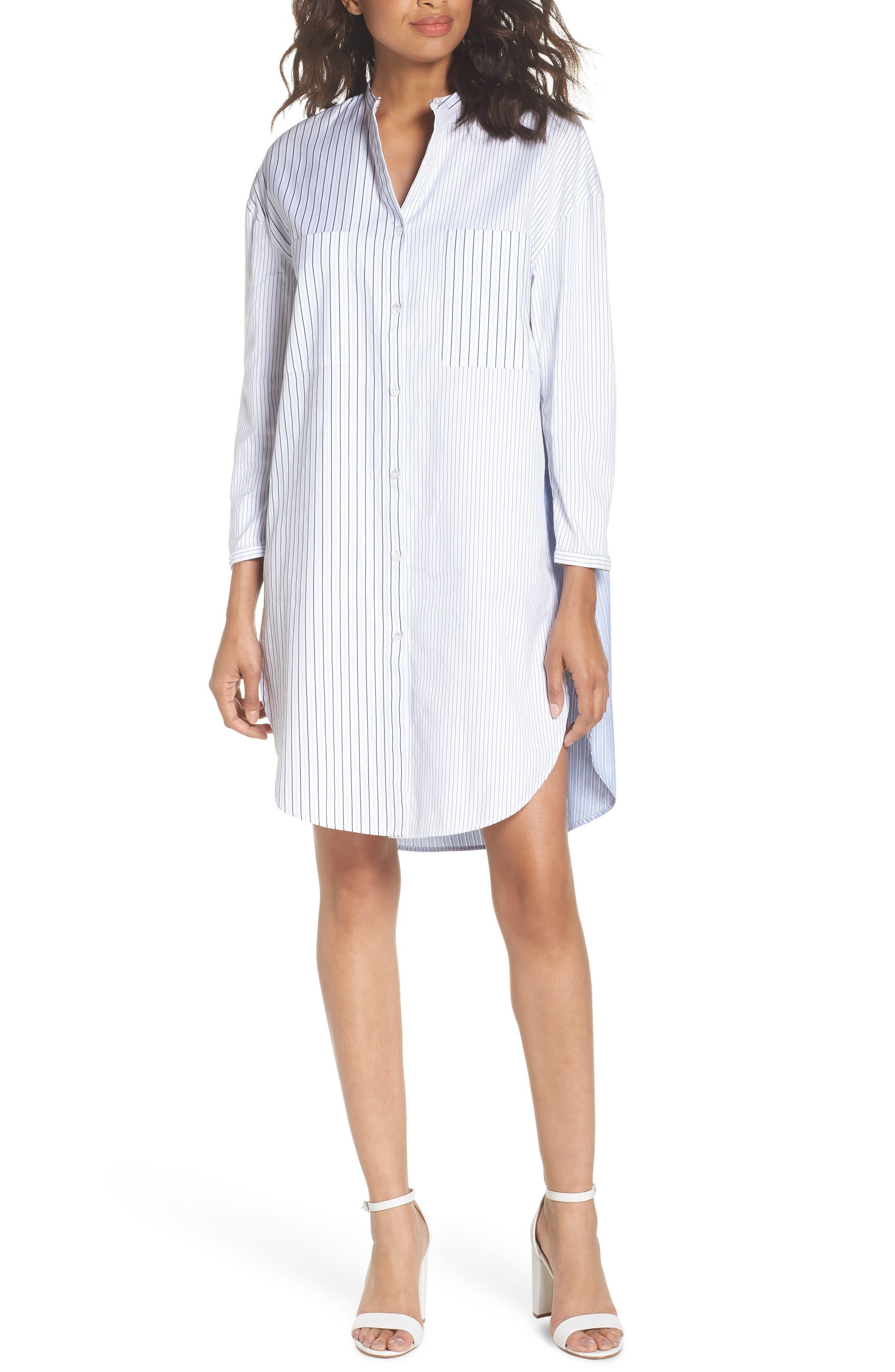Tia Stripe Shirtdress,                             Main thumbnail 1, color,                             Stripe