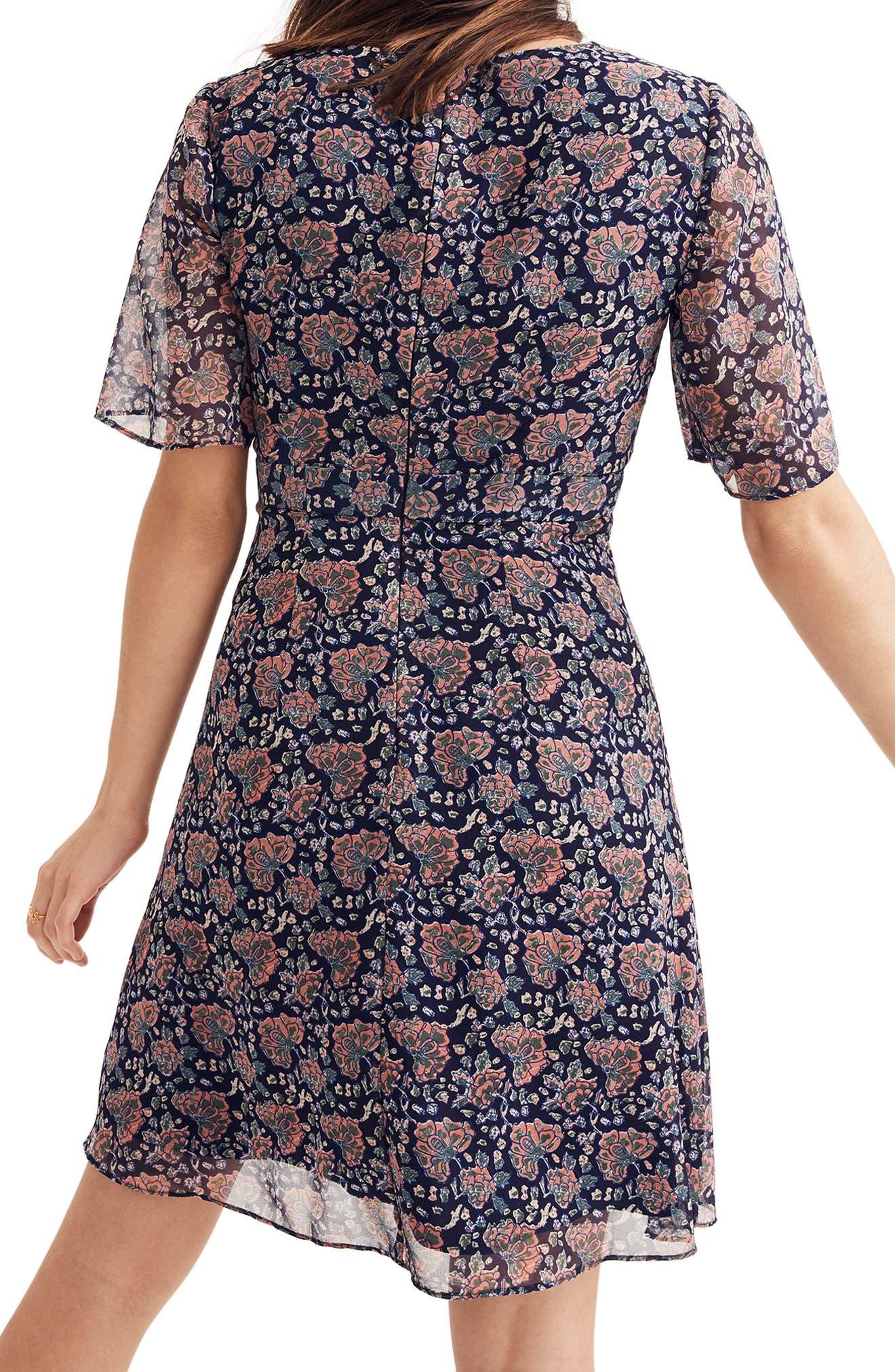 Orchard Flutter Sleeve Dress,                             Alternate thumbnail 2, color,                             Block Print Floral