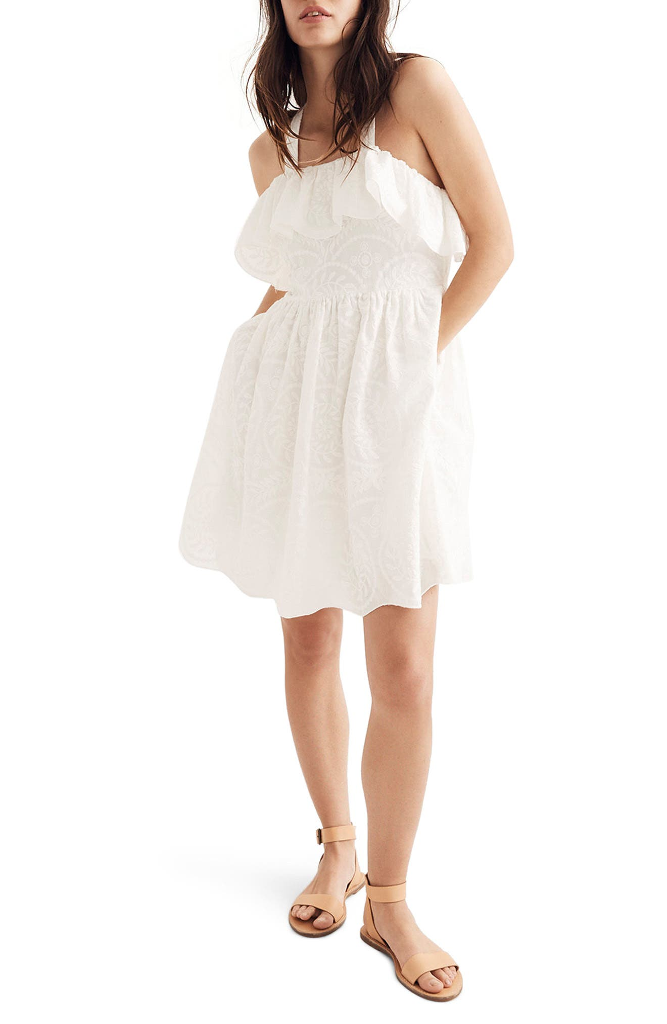 Embroidered Apron Ruffle Dress,                         Main,                         color, White Wash