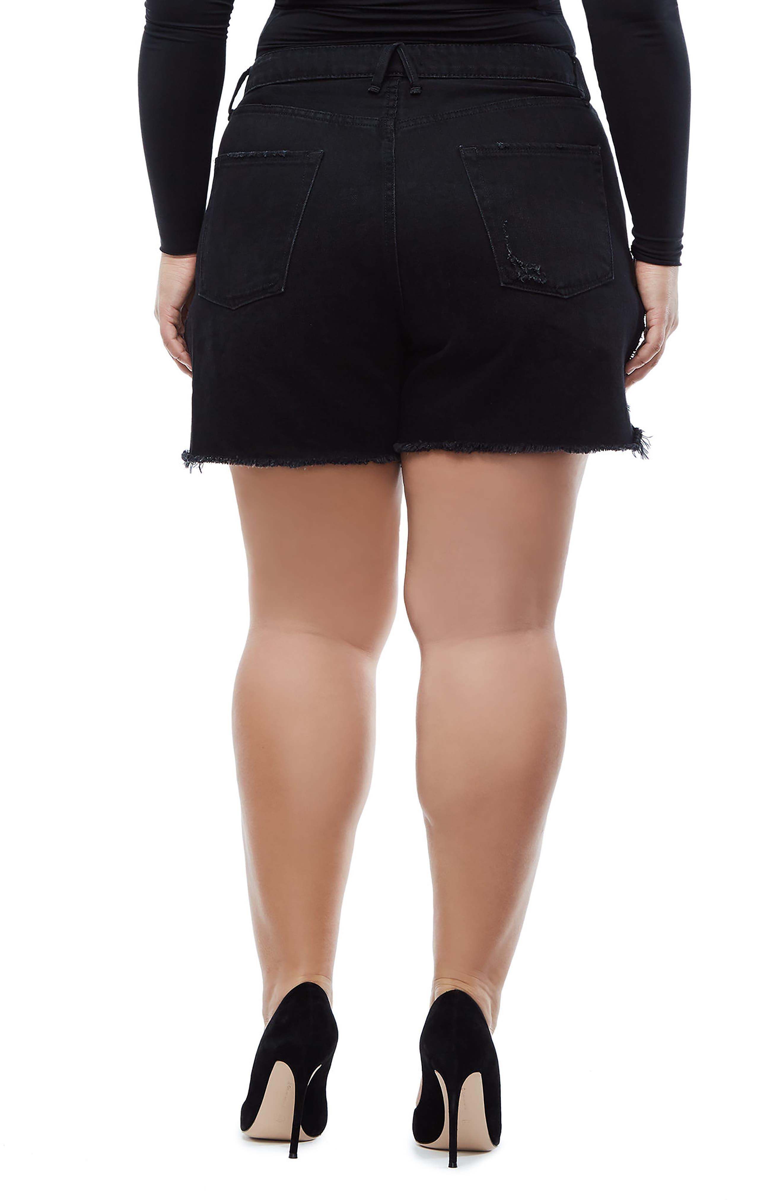 Bombshell High Waist Cutoff Denim Shorts,                             Alternate thumbnail 5, color,                             Black 019