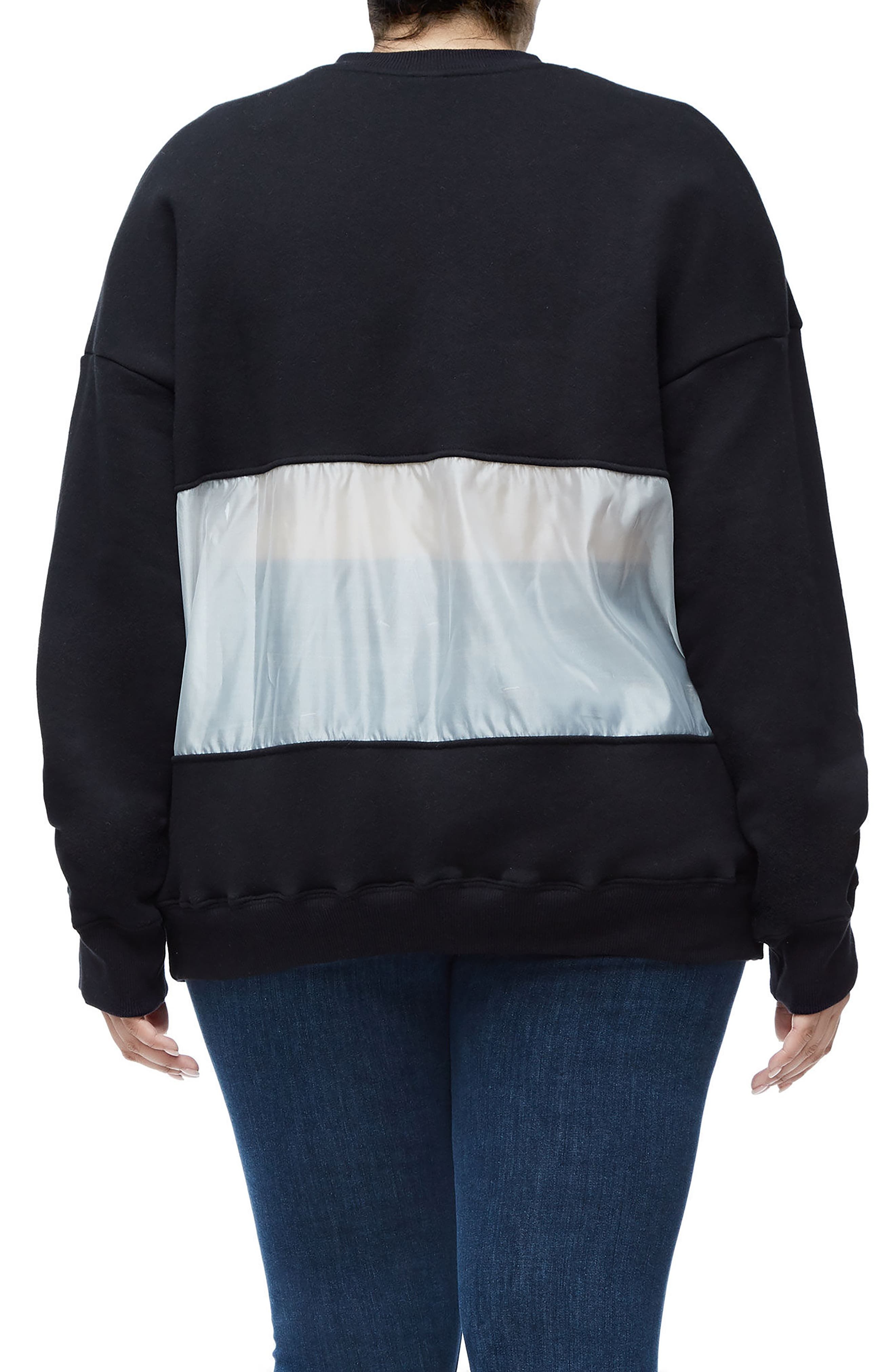 Mixed Media Oversize Sweatshirt,                             Alternate thumbnail 4, color,                             Black001