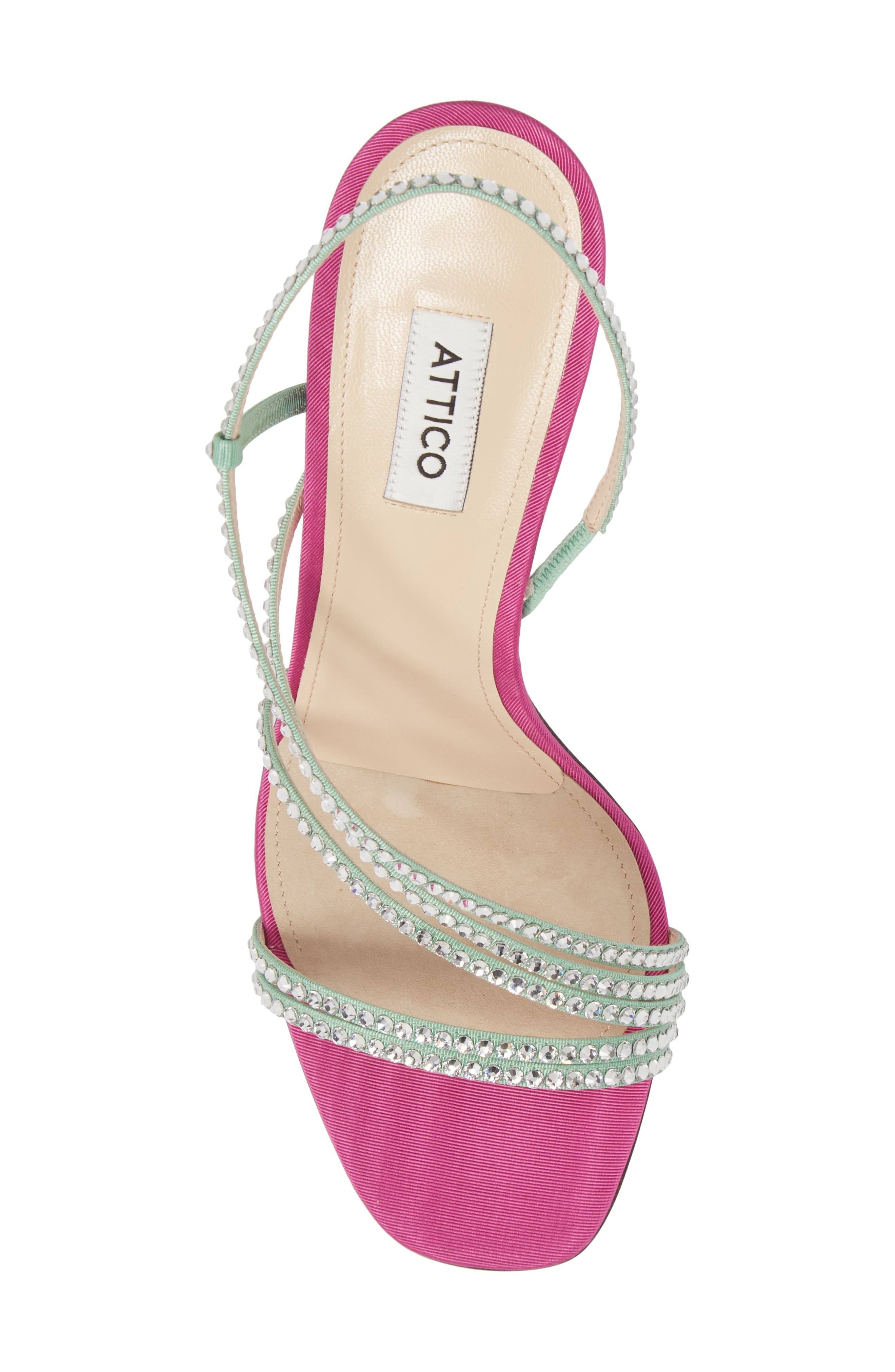 Crystal Embellished Strappy Sandal,                             Alternate thumbnail 5, color,                             Pink/ Silver