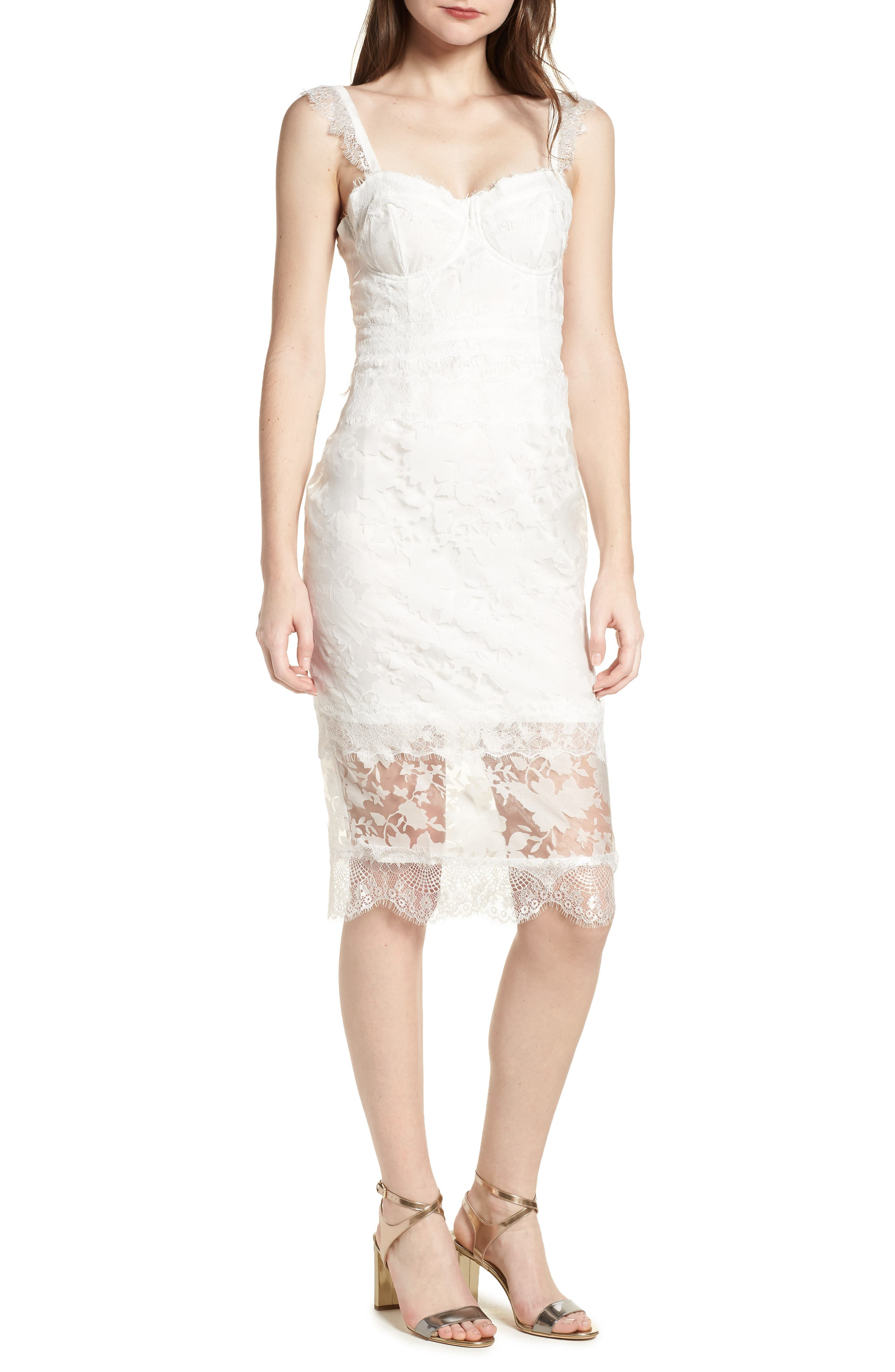 Organza Lace Sheath Dress,                         Main,                         color, Ivory