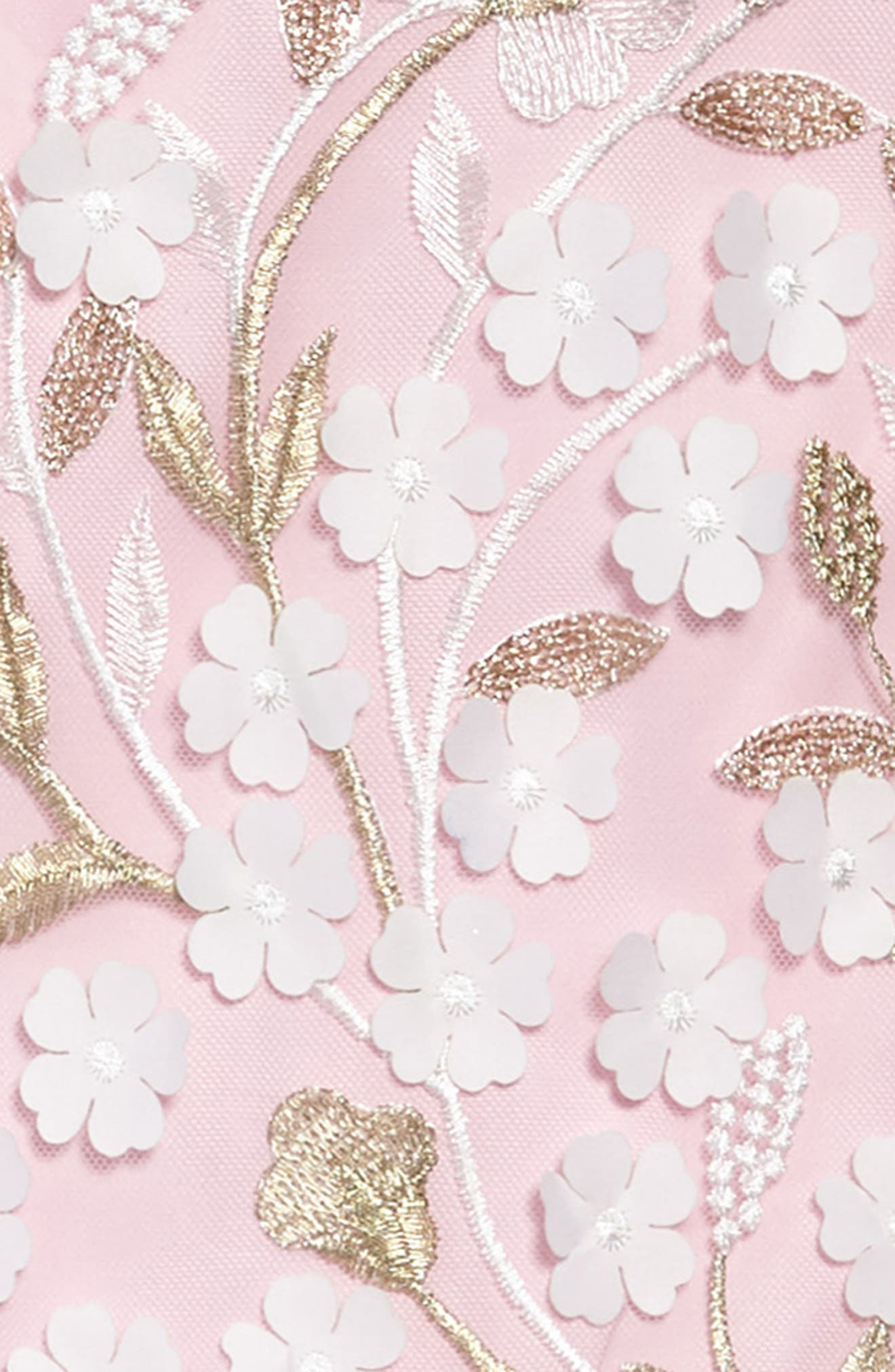 Floral Drop Waist Dress,                             Alternate thumbnail 3, color,                             Pink