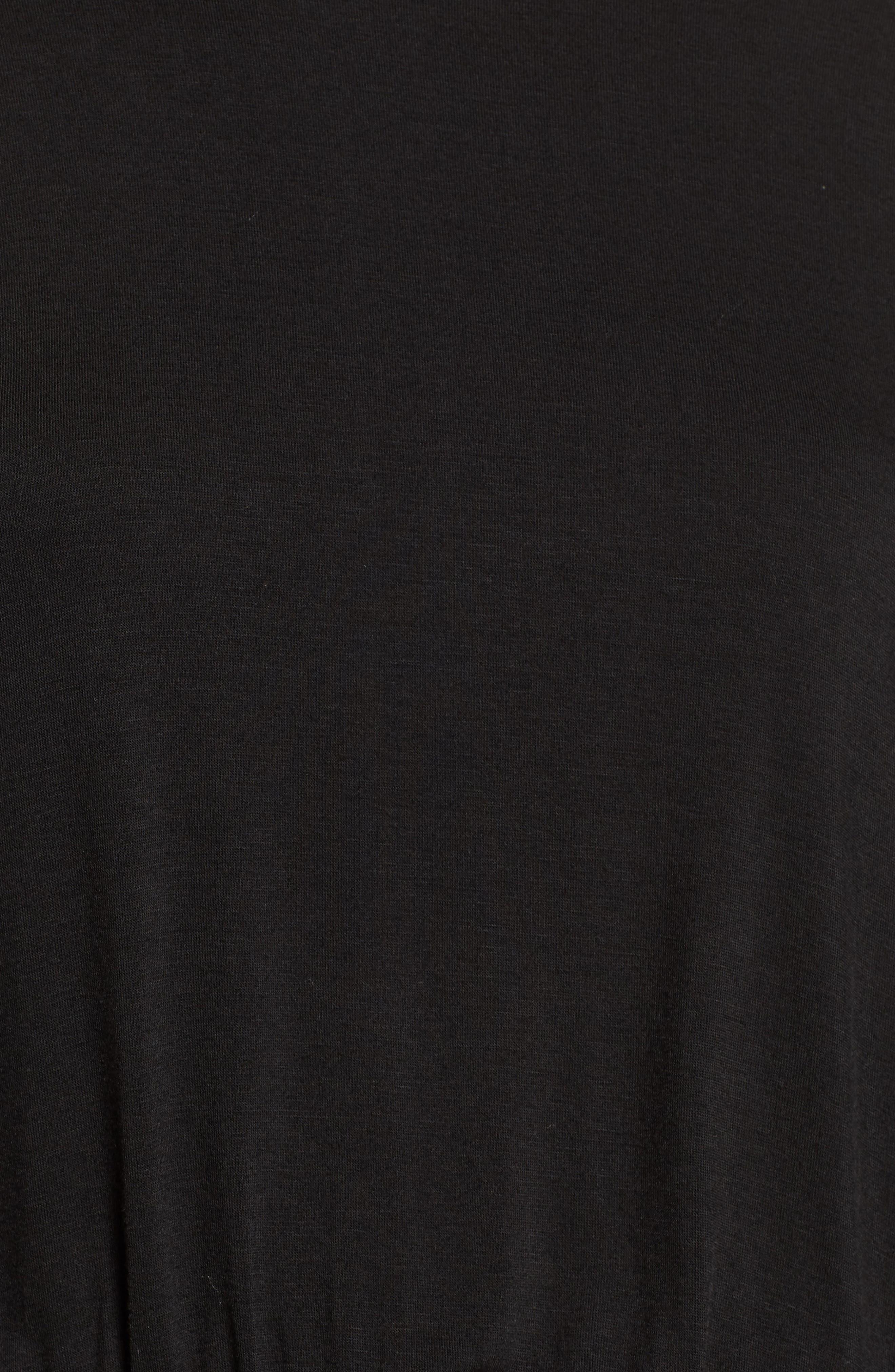 Short Sleeve Ruched Dress,                             Alternate thumbnail 6, color,                             Black