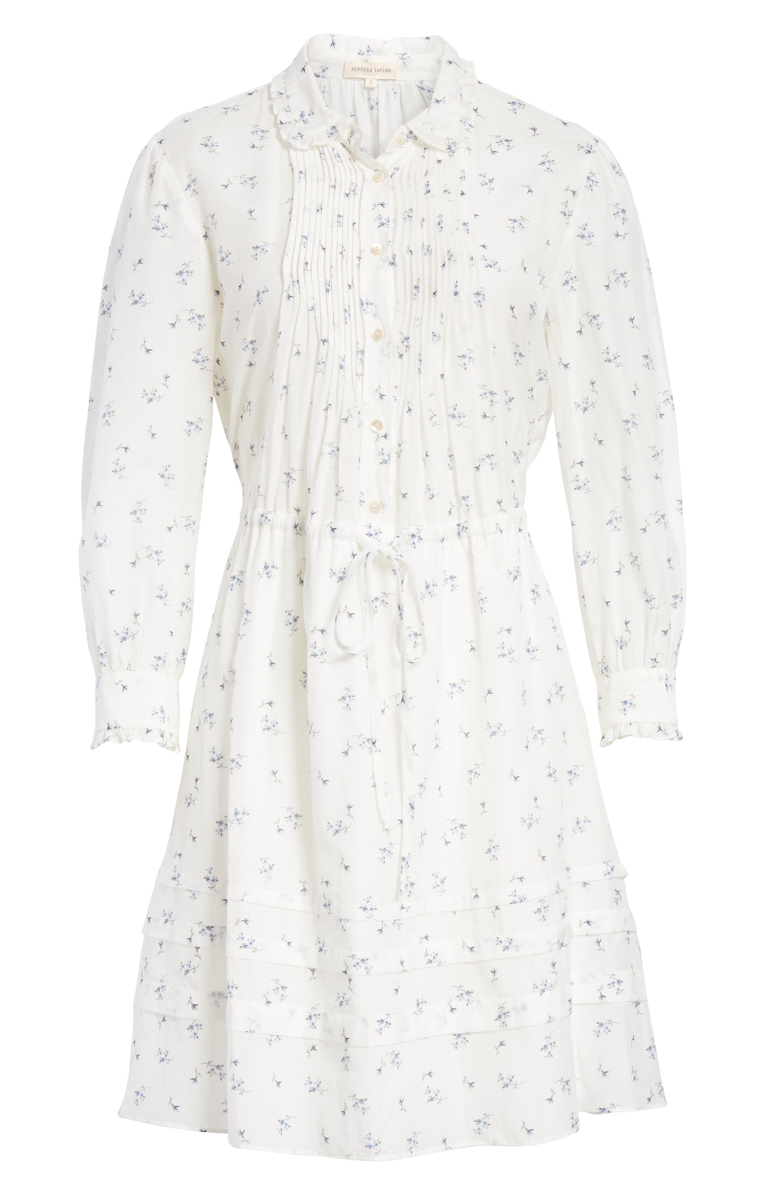 Floral Sprig Shirtdress,                             Alternate thumbnail 6, color,                             Snow Combo