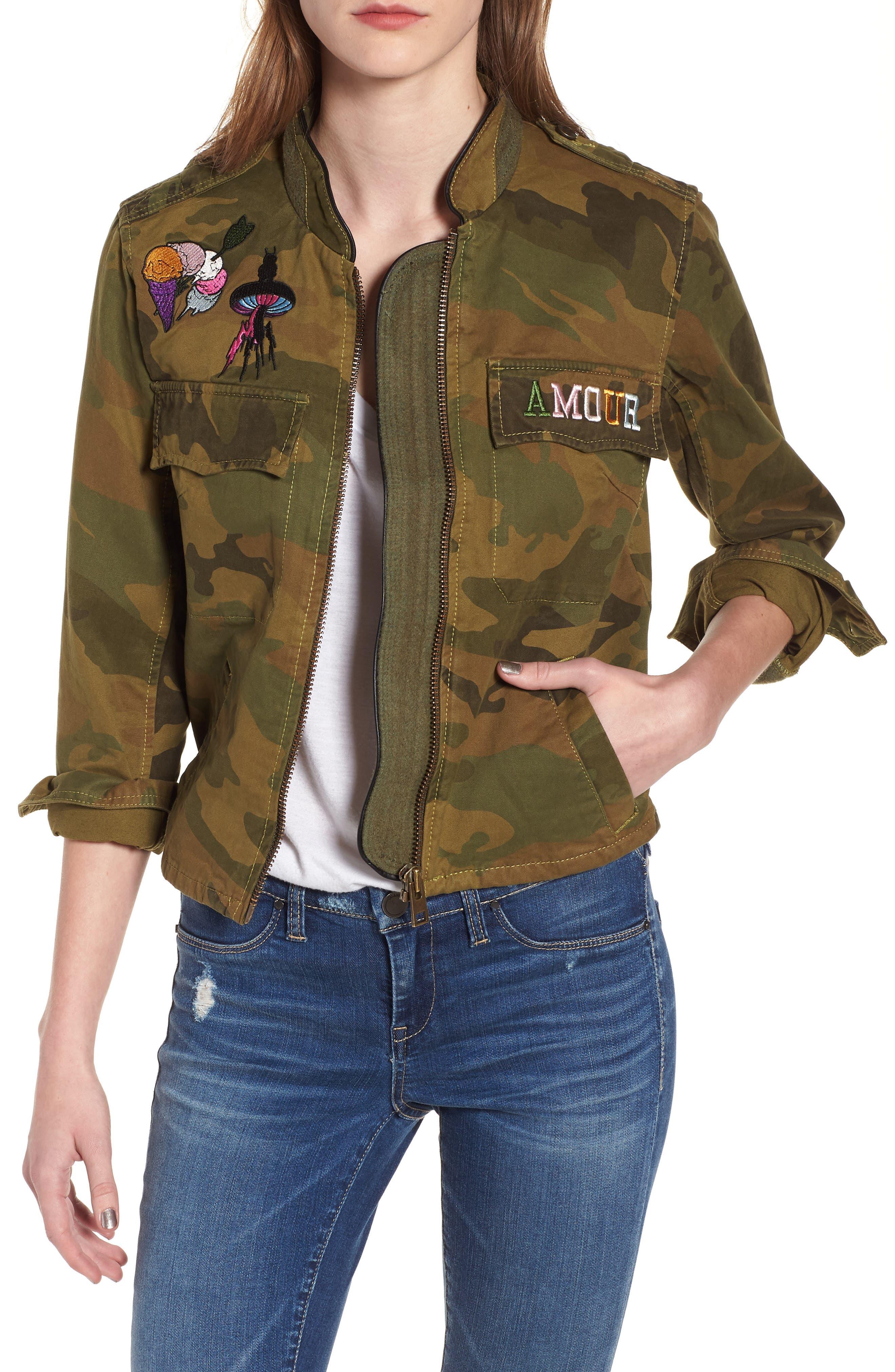 Kavys Embroidered Camo Jacket,                         Main,                         color, Olive
