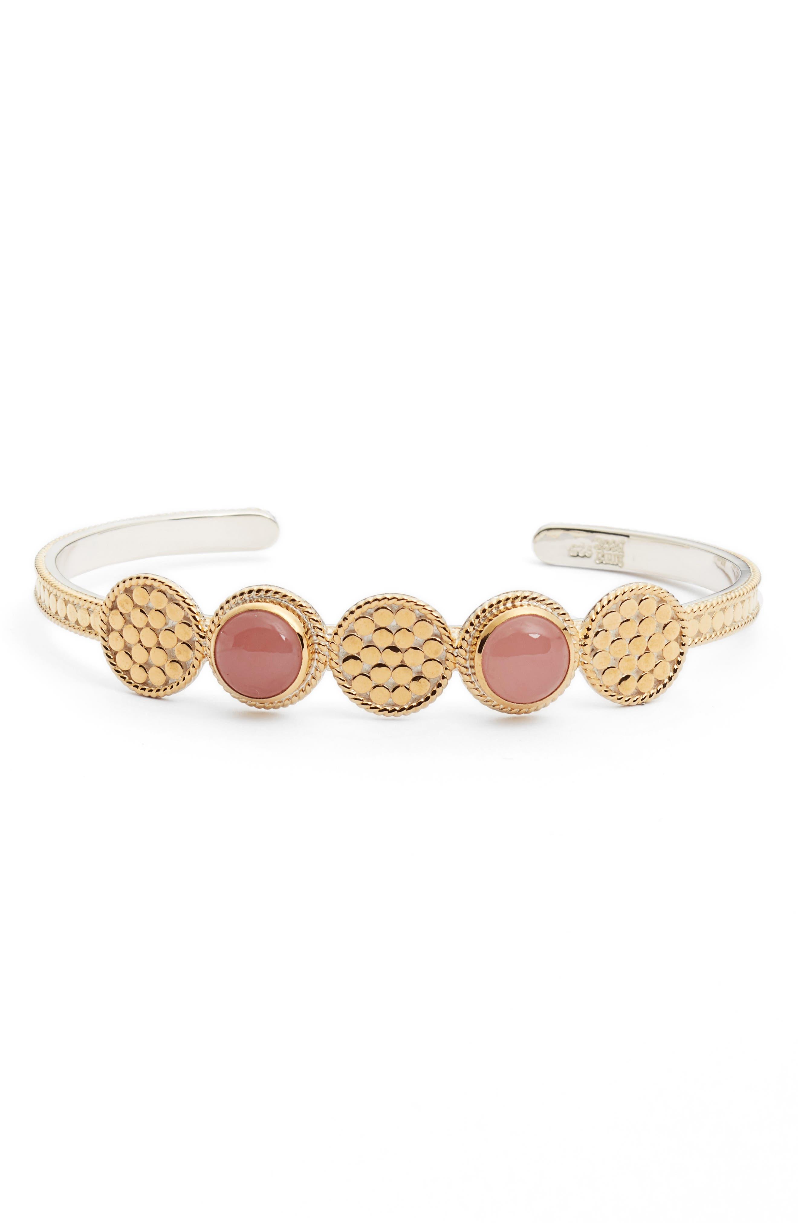Guava Quartz Multidisc Cuff Bracelet,                         Main,                         color, Gold/ Guava Quartz