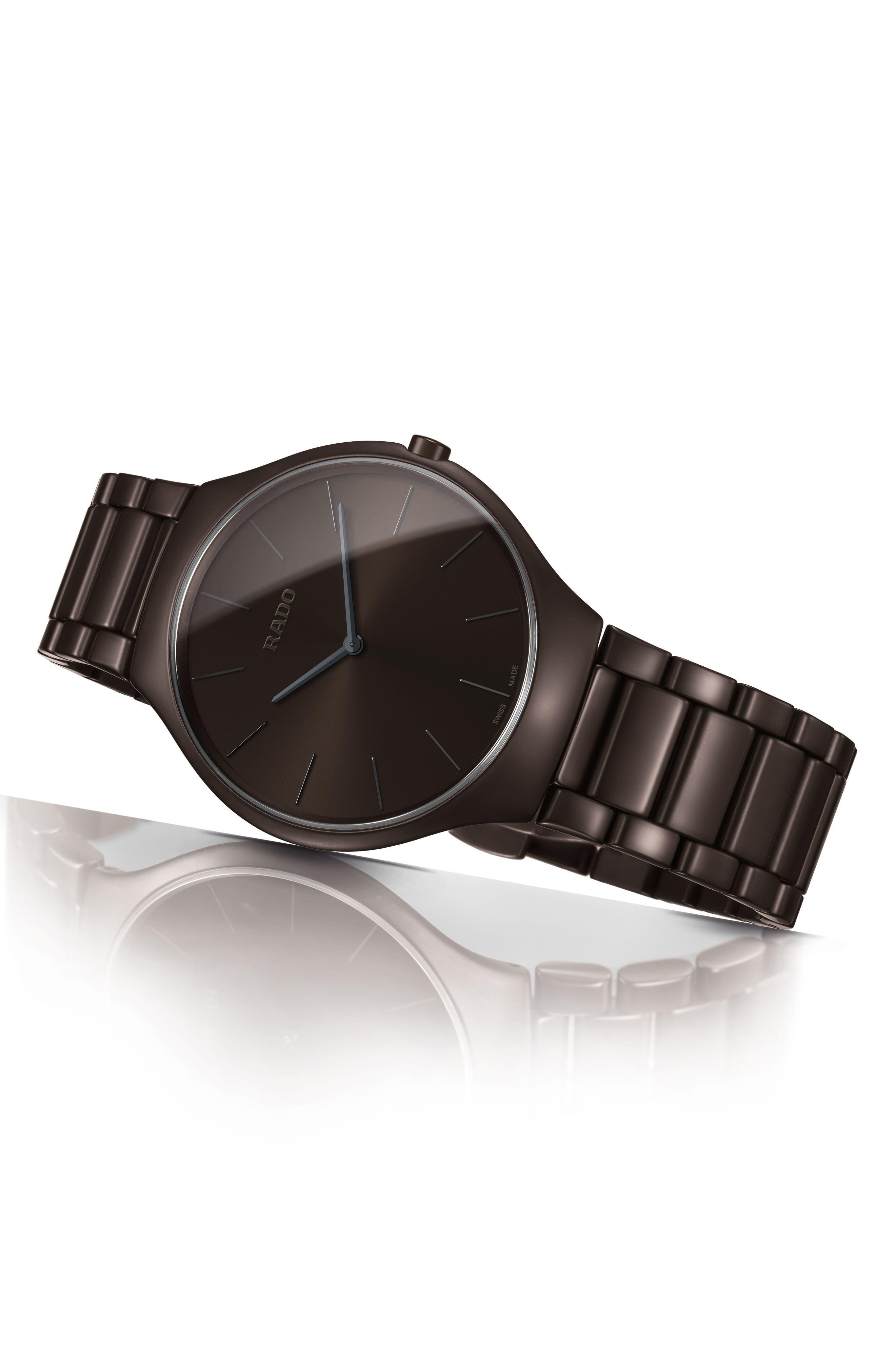 True Thinline Ceramic Bracelet Watch, 39mm,                             Alternate thumbnail 2, color,                             Brown