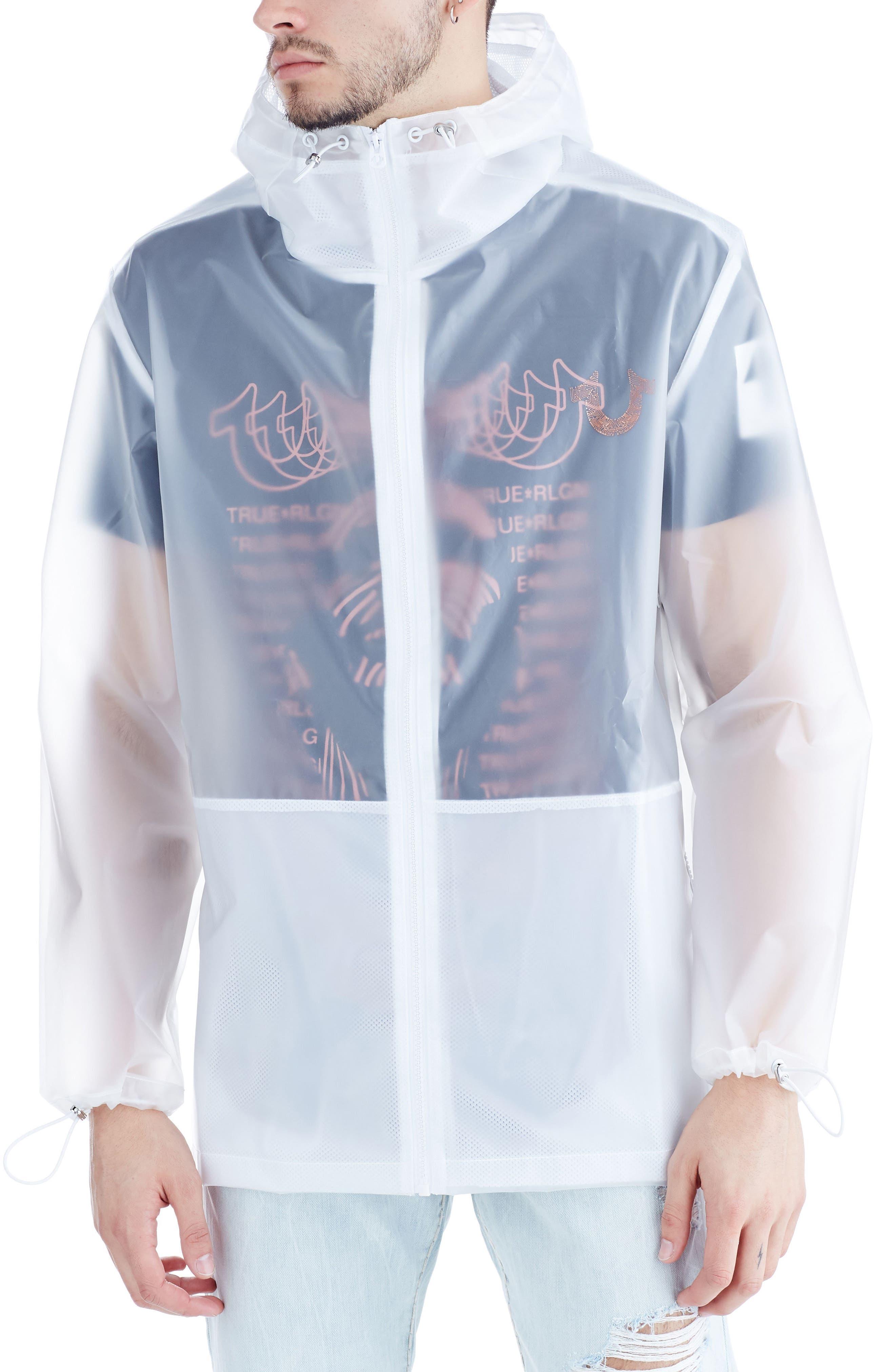 Translucent Rain Jacket,                         Main,                         color, White