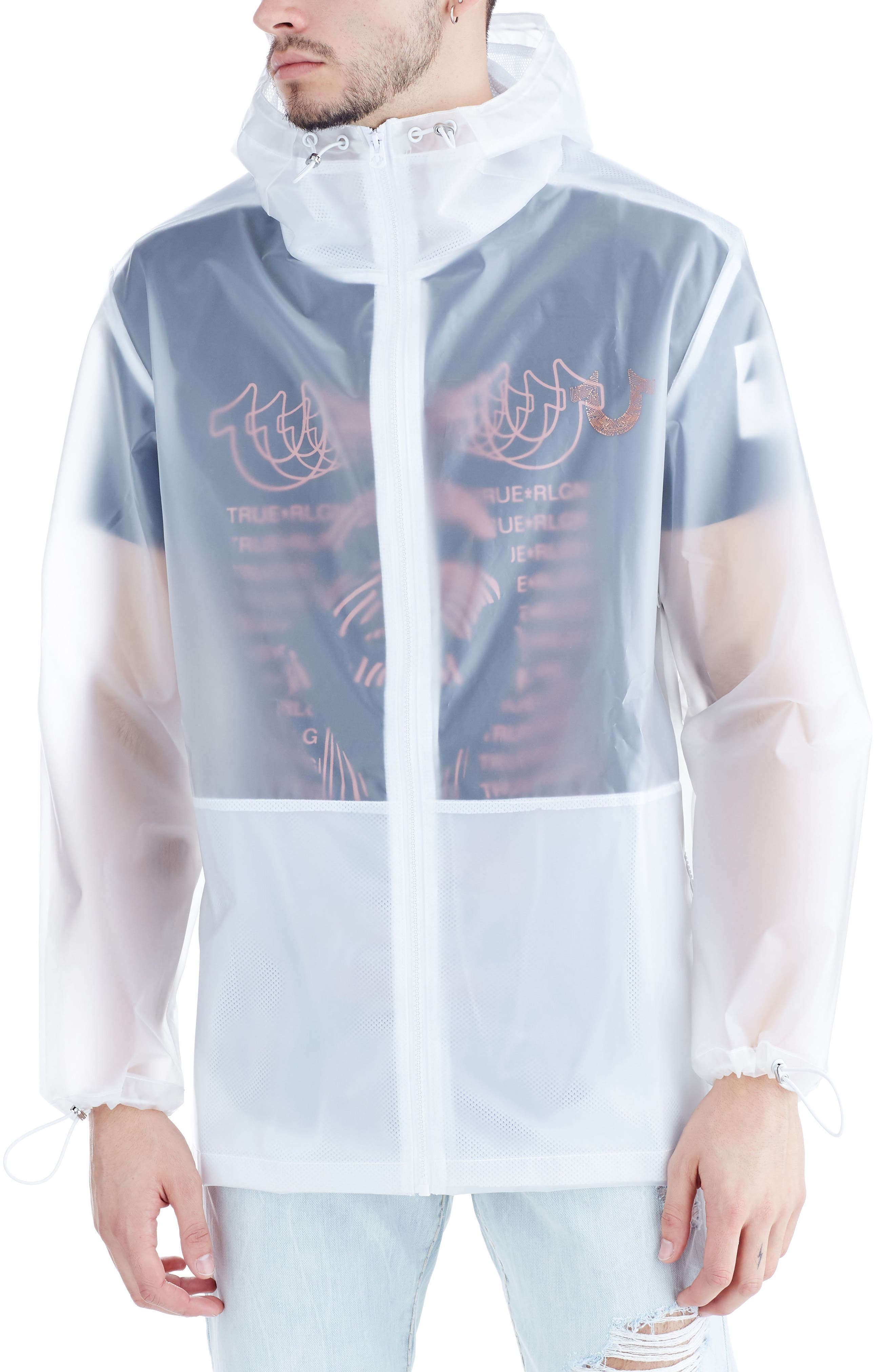 True Religion Brand Jeans Translucent Rain Jacket