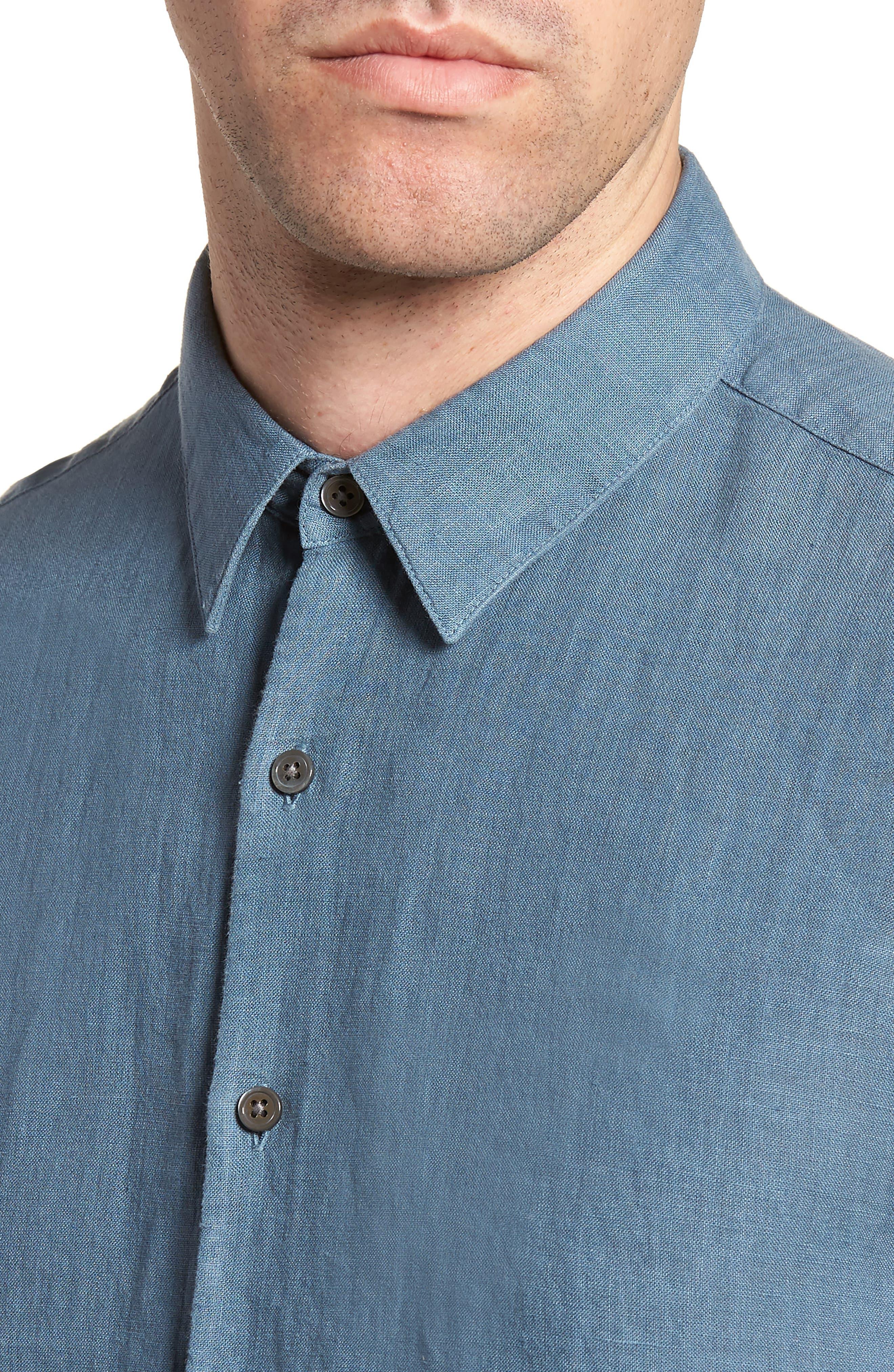 Irving Trim Fit Linen Short Sleeve Sport Shirt,                             Alternate thumbnail 4, color,                             Hydro