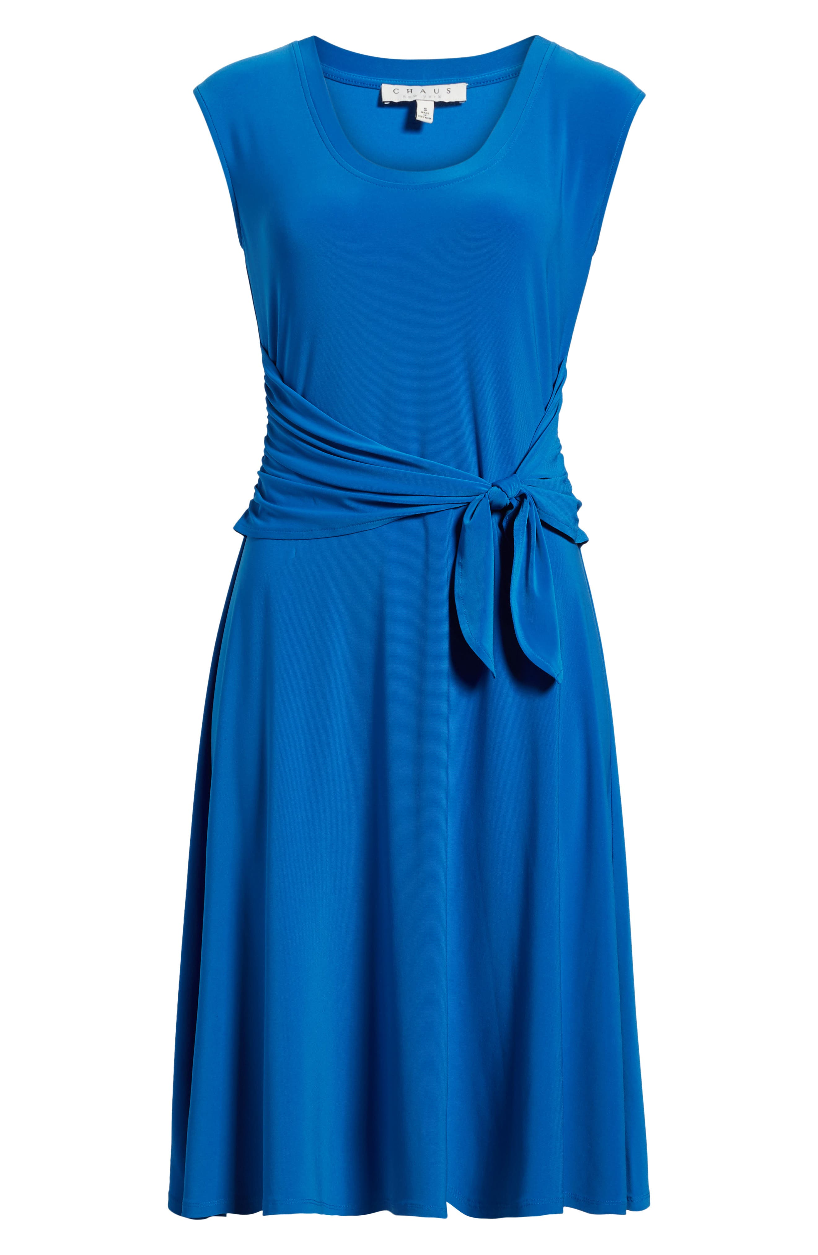 Tie Front Stretch Jersey Dress,                             Alternate thumbnail 7, color,                             Stone