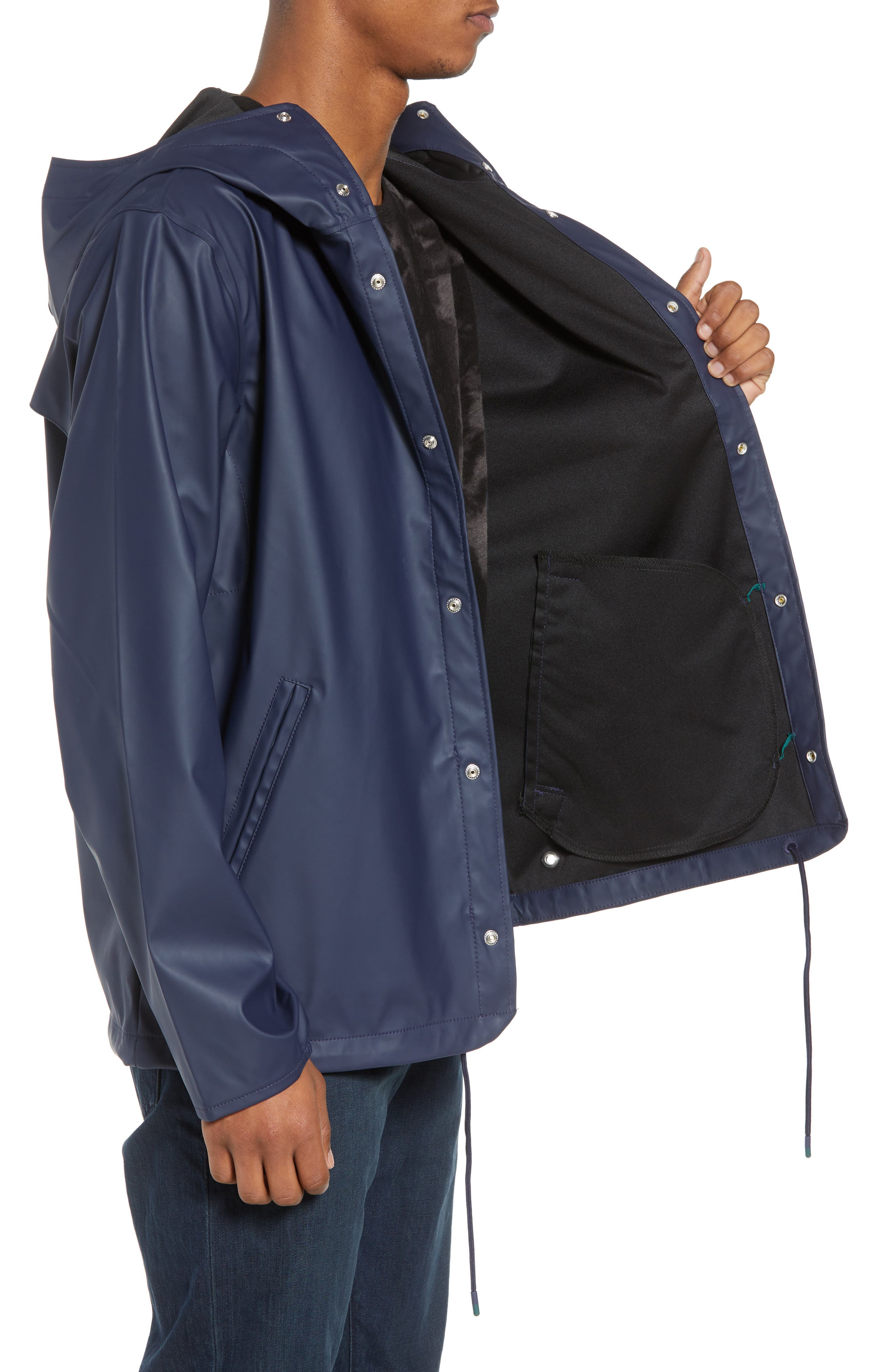 Forecast Hooded Coaches Jacket,                             Alternate thumbnail 3, color,                             Peacoat/ Peacoat
