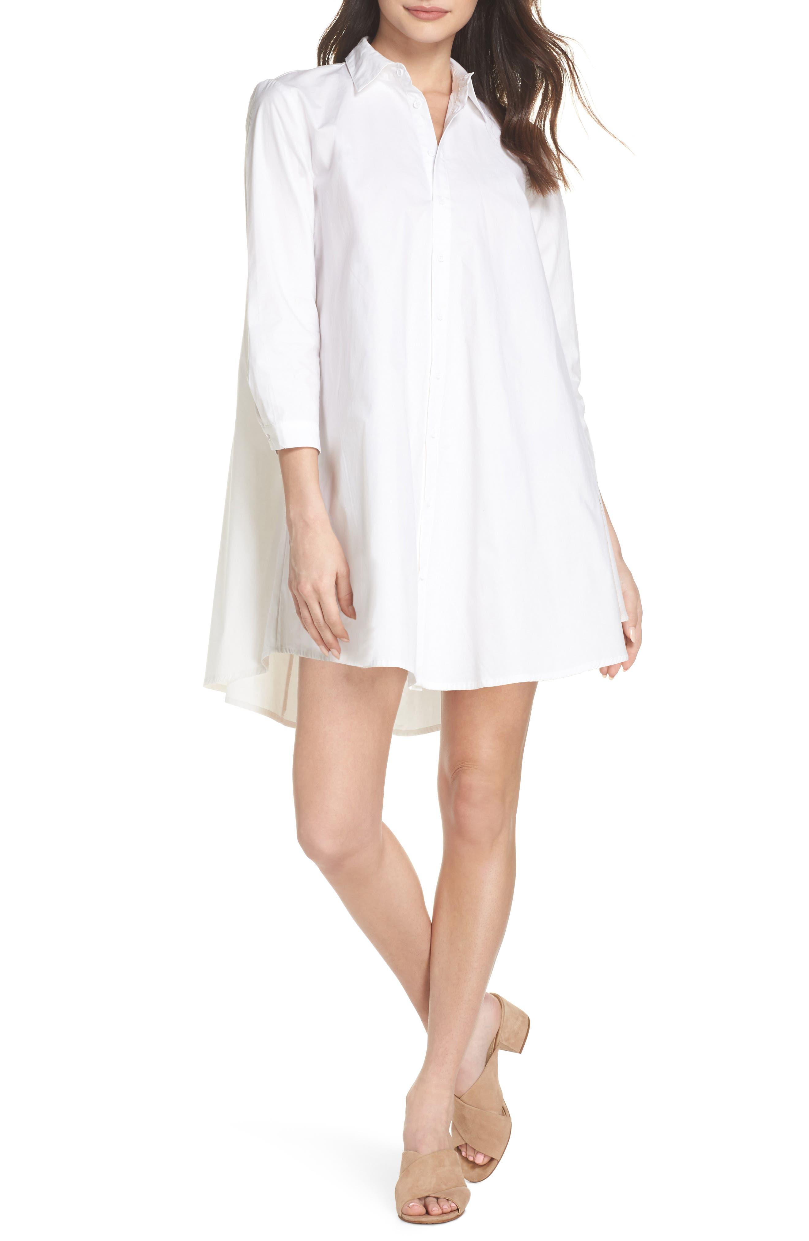 Colt Cotton Poplin Shirtdress,                             Main thumbnail 1, color,                             Optic White