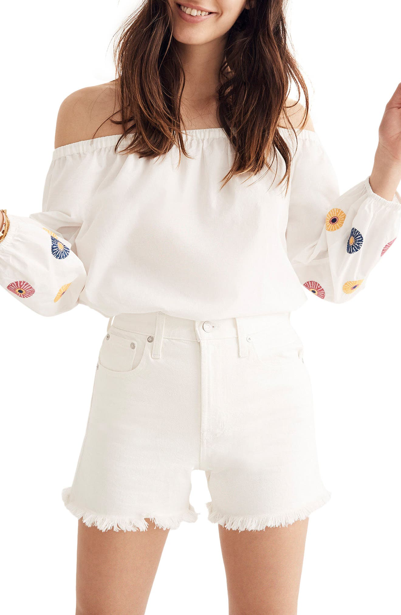 Embroidered Off the Shoulder Top,                             Main thumbnail 1, color,                             White Wash