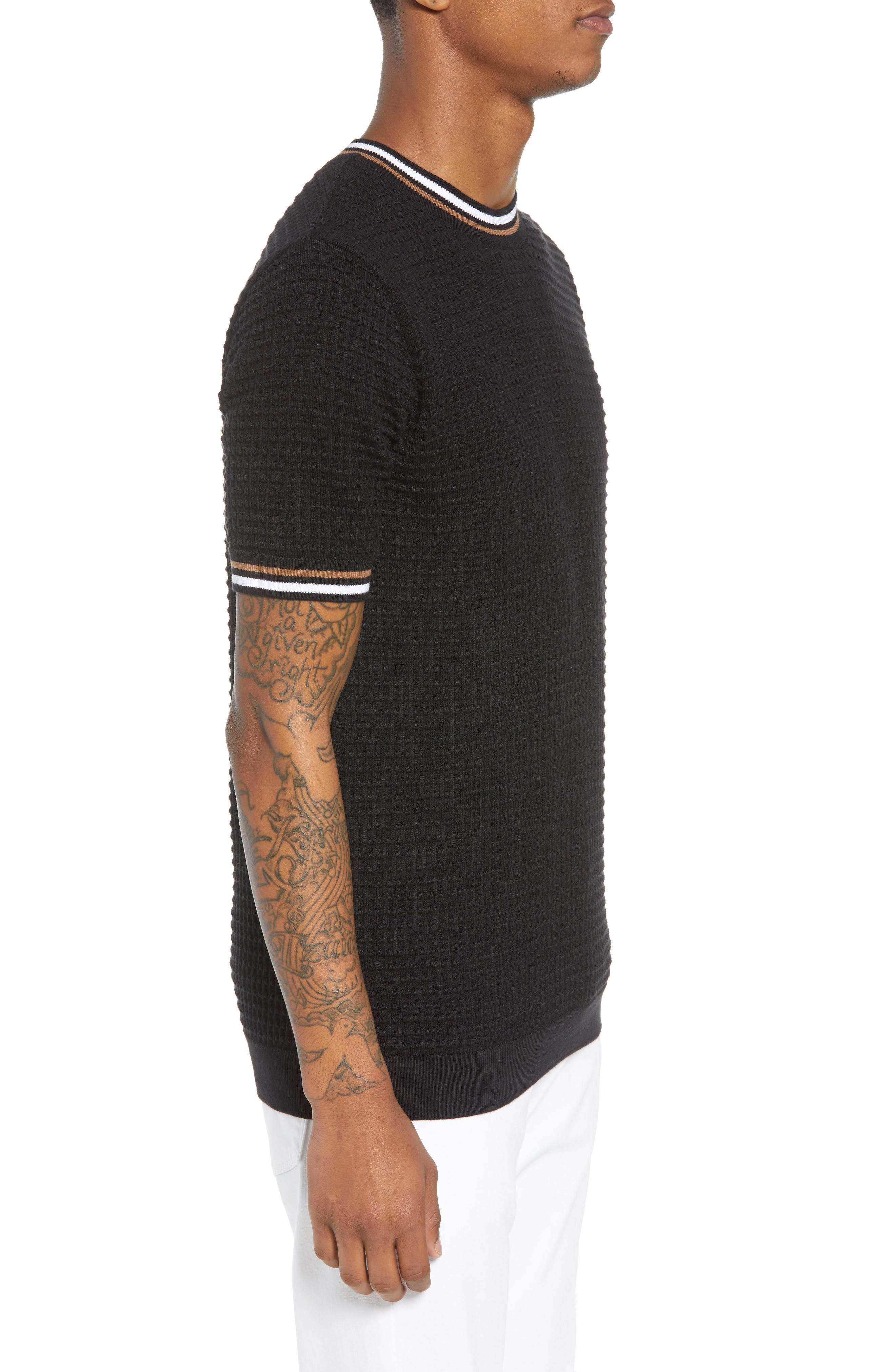 Slim Fit Textured Short Sleeve Sweater,                             Alternate thumbnail 3, color,                             Black Multi