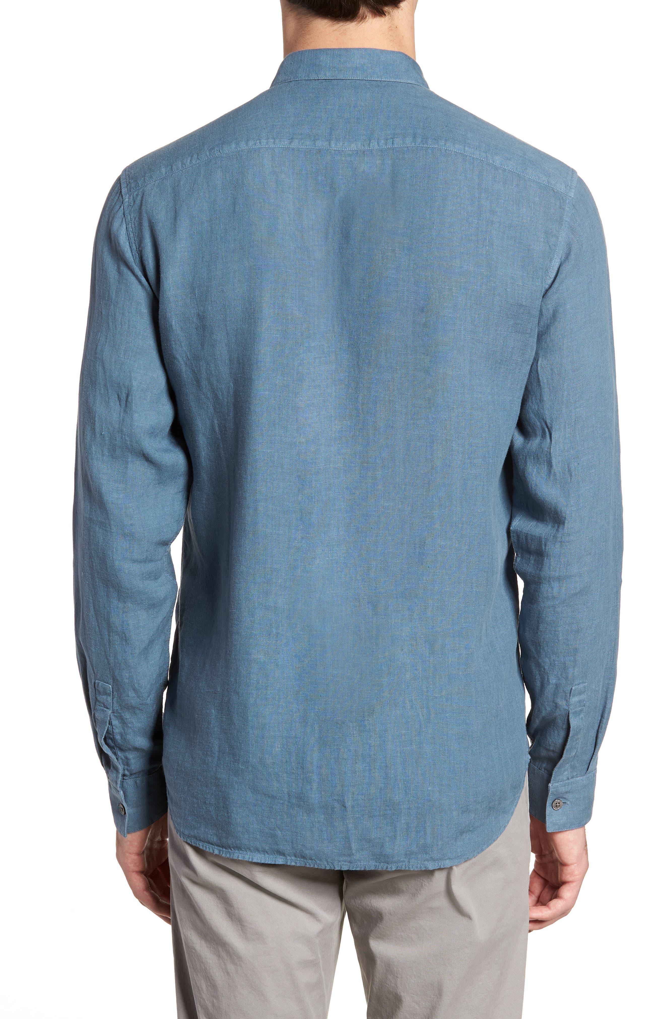 Irving Trim Fit Solid Linen Sport Shirt,                             Alternate thumbnail 3, color,                             Hydro