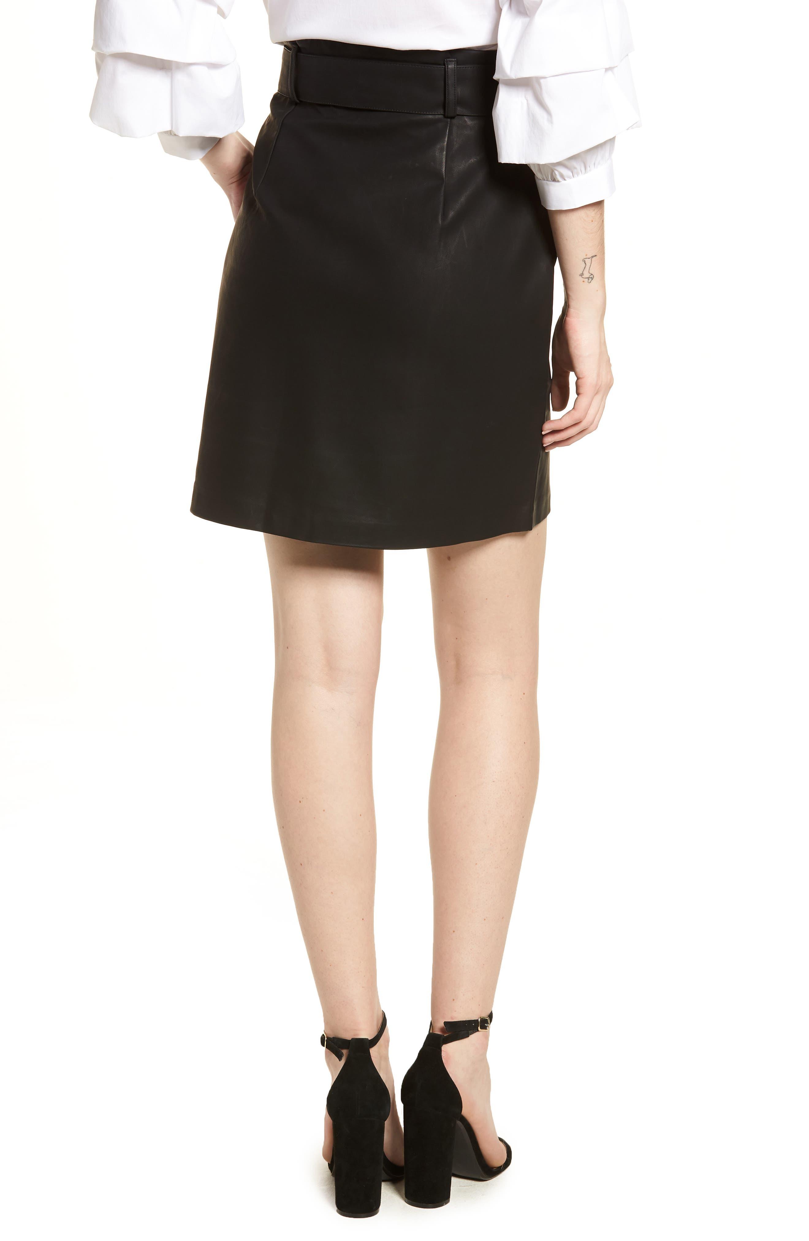Paperbag Faux Leather Miniskirt,                             Alternate thumbnail 2, color,                             Black