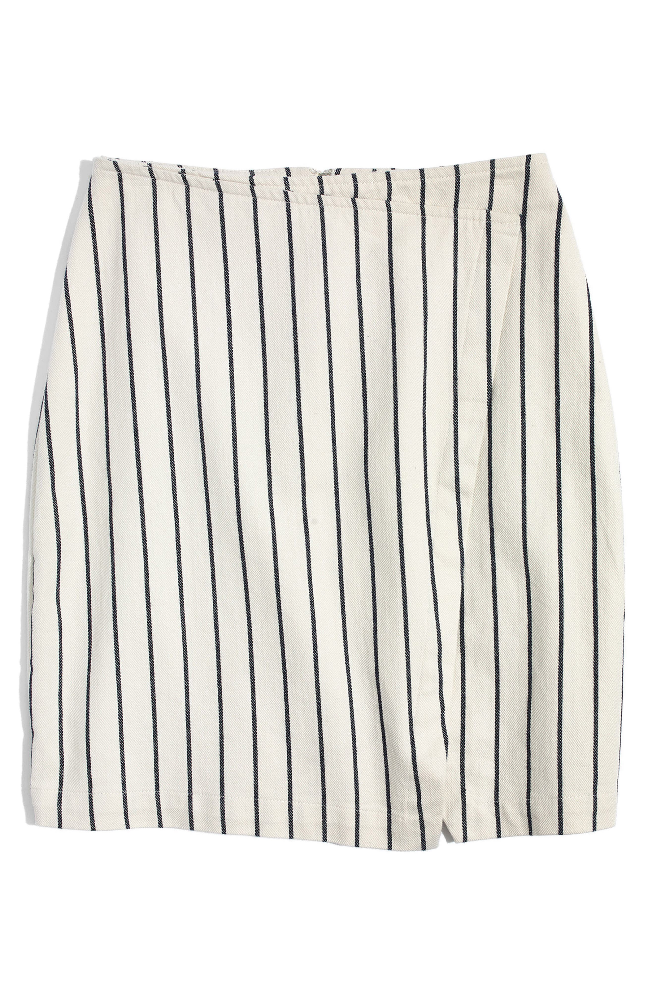 Stripe Faux Wrap Skirt,                             Alternate thumbnail 4, color,                             Canvas