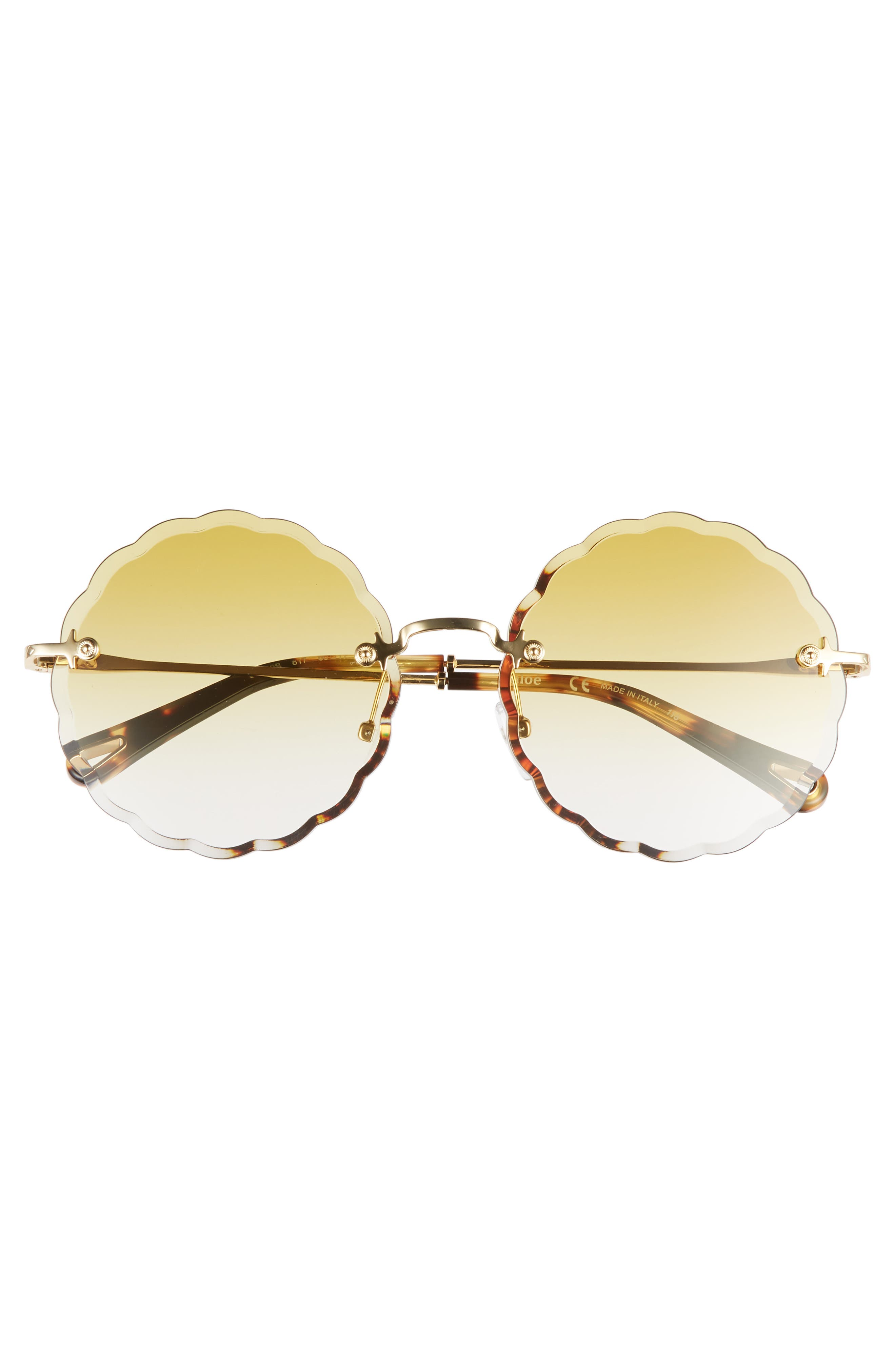 Rosie 60mm Scalloped Rimless Sunglasses,                             Alternate thumbnail 3, color,                             Gold/ Gradient Ochre