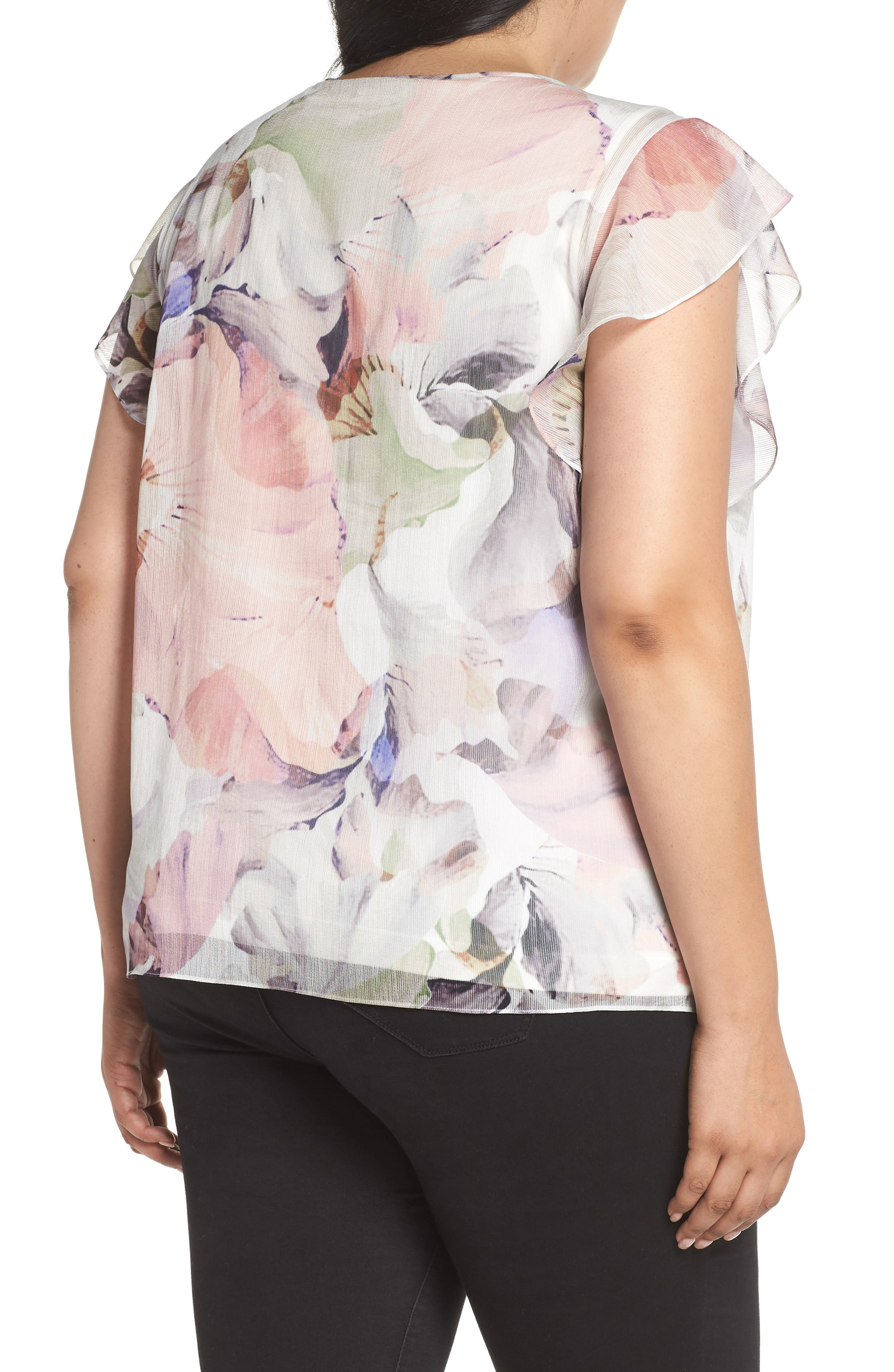 Diffuse Bloom Chiffon Top,                             Alternate thumbnail 2, color,                             New Ivory