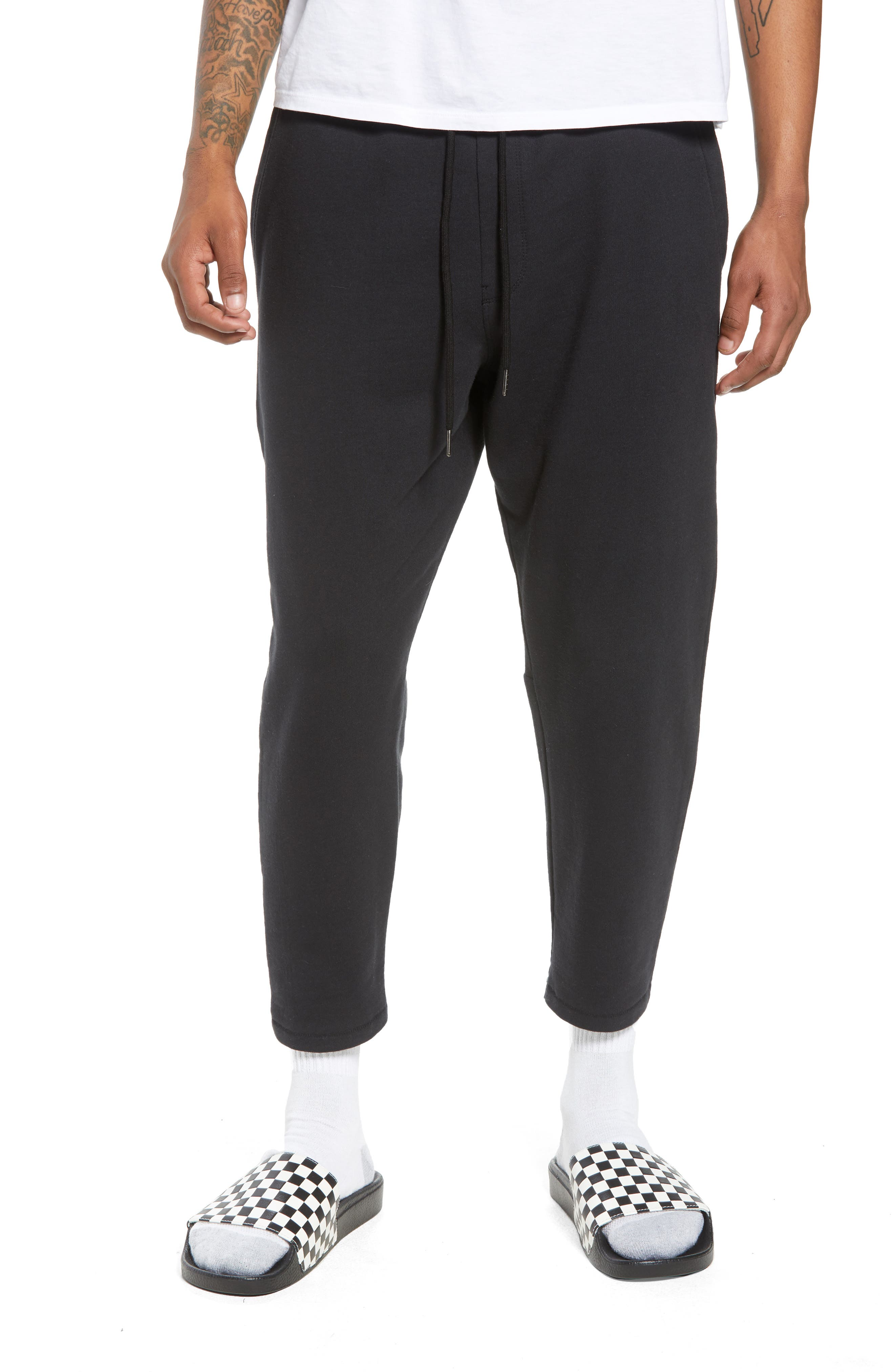Cropped Sweatpants,                             Main thumbnail 1, color,                             Black Rock