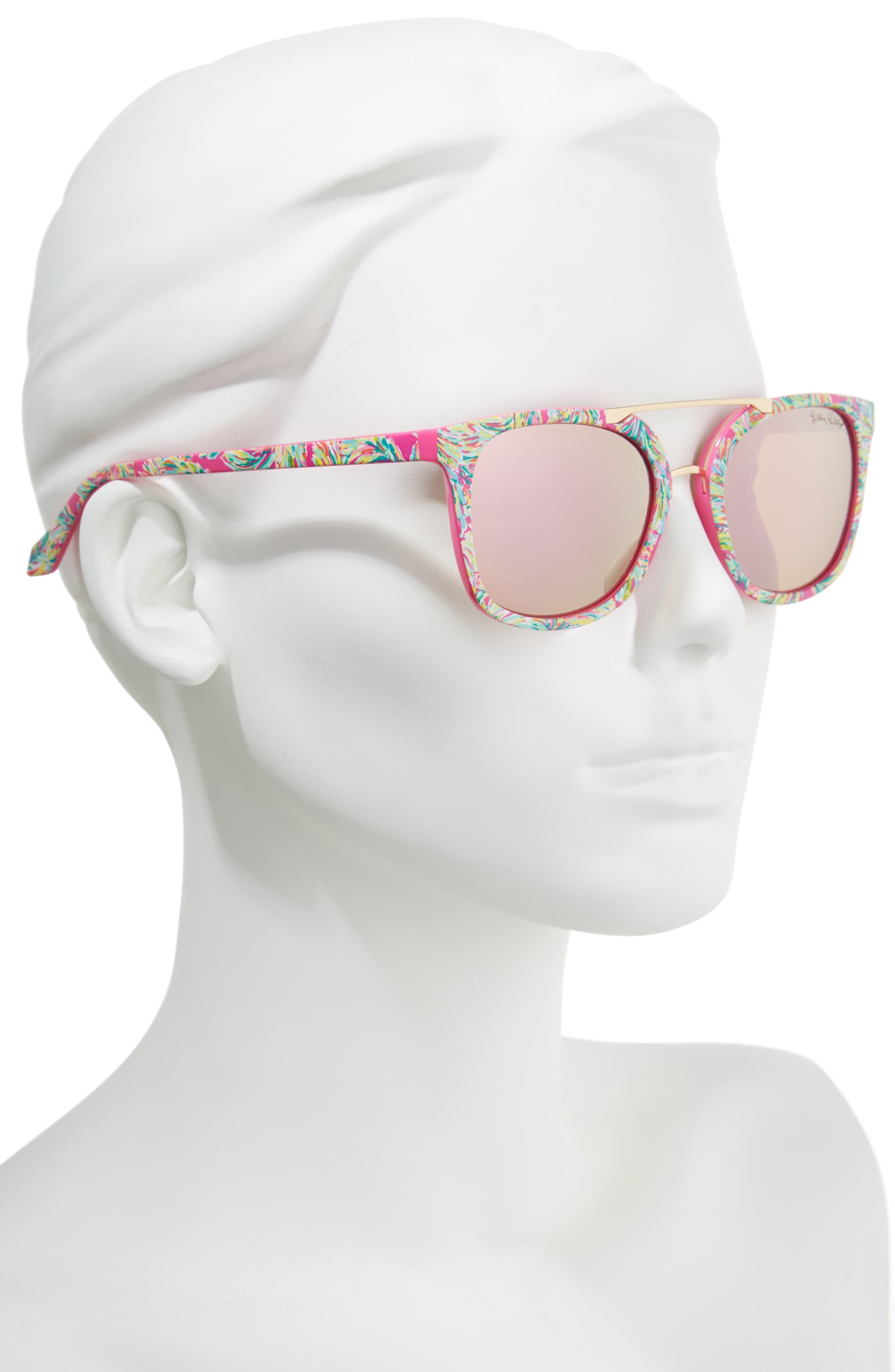 Lilly Pulitzer Emilia 53mm Polarized Sunglasses,                             Alternate thumbnail 2, color,                             Shady Lady/ Pink