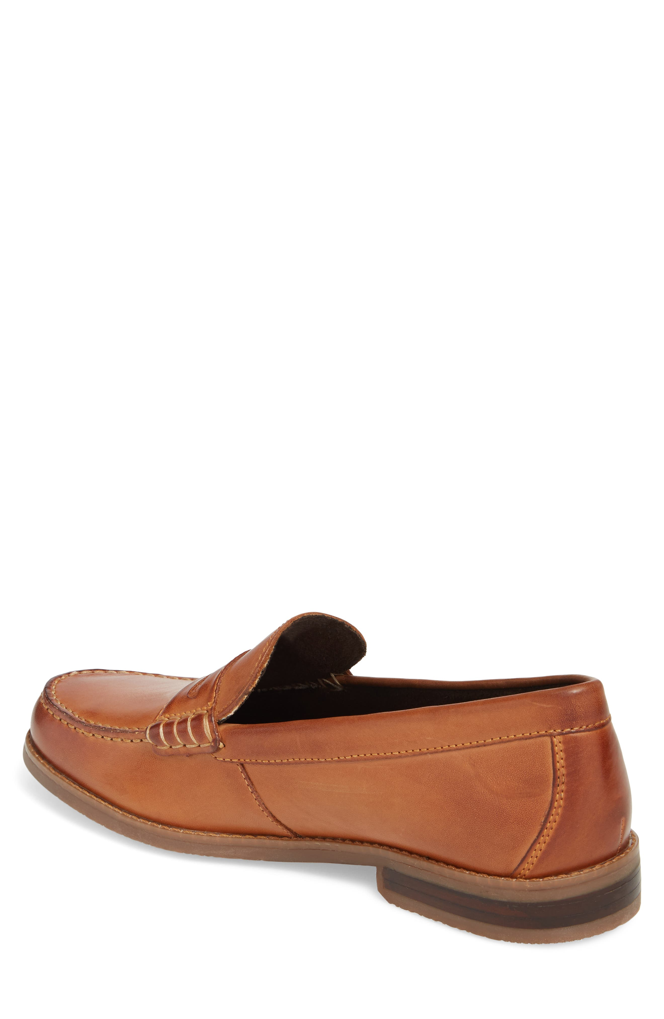 Cayleb Moc Toe Penny Loafer,                             Alternate thumbnail 2, color,                             Cognac Leather