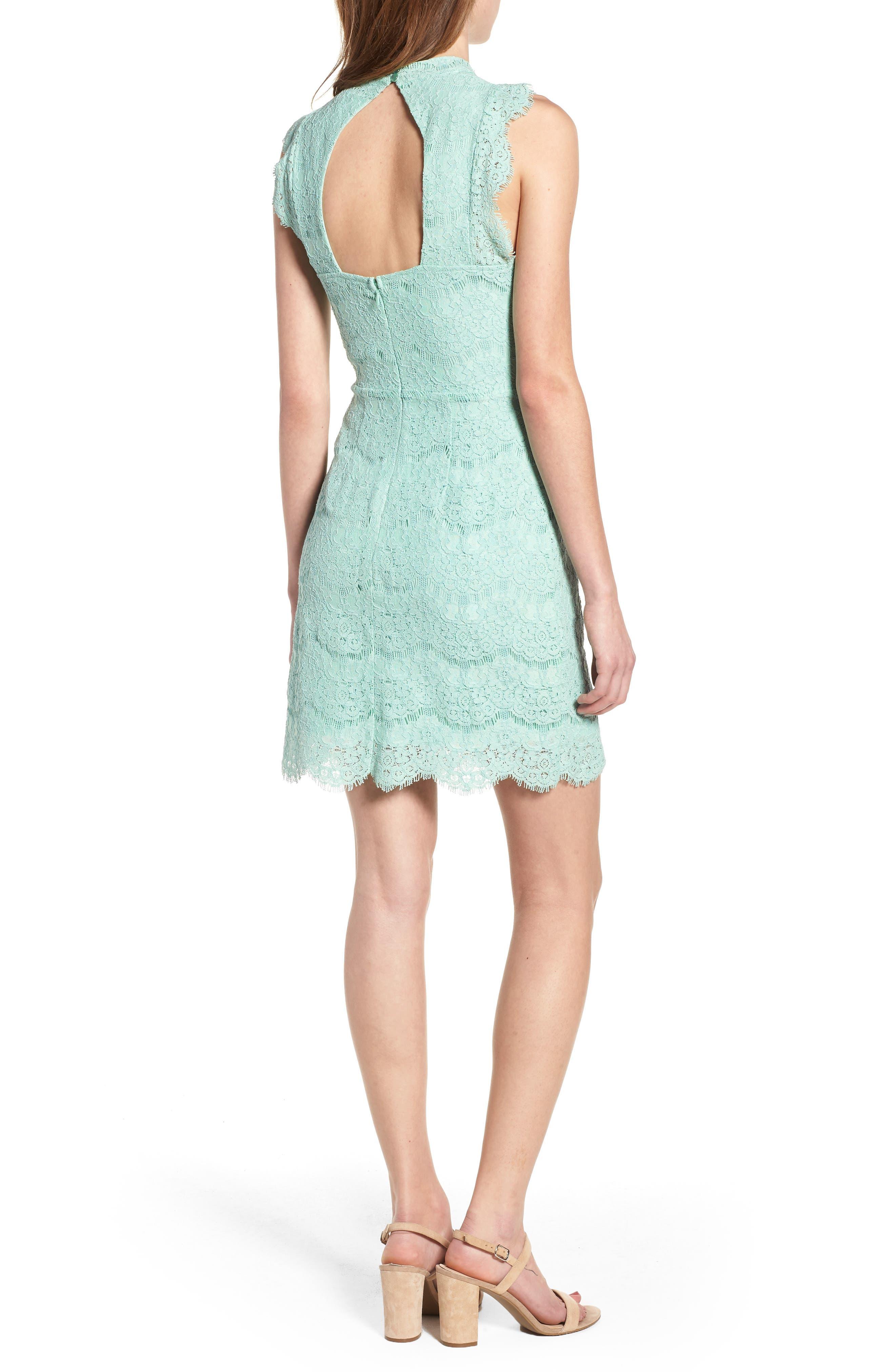 Lace Body-Con Minidress,                             Alternate thumbnail 2, color,                             Lichen