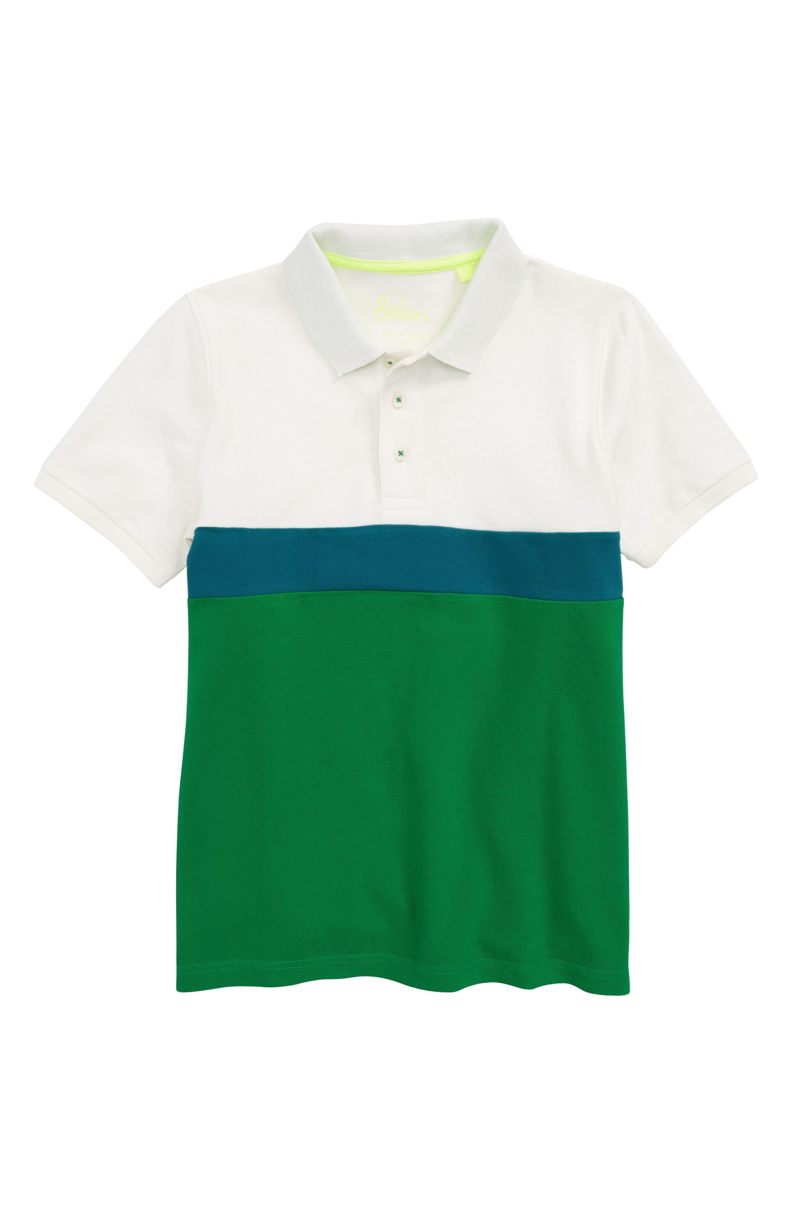Colorblock Piqué Polo,                             Main thumbnail 1, color,                             Ecru/ Runner Bean Green