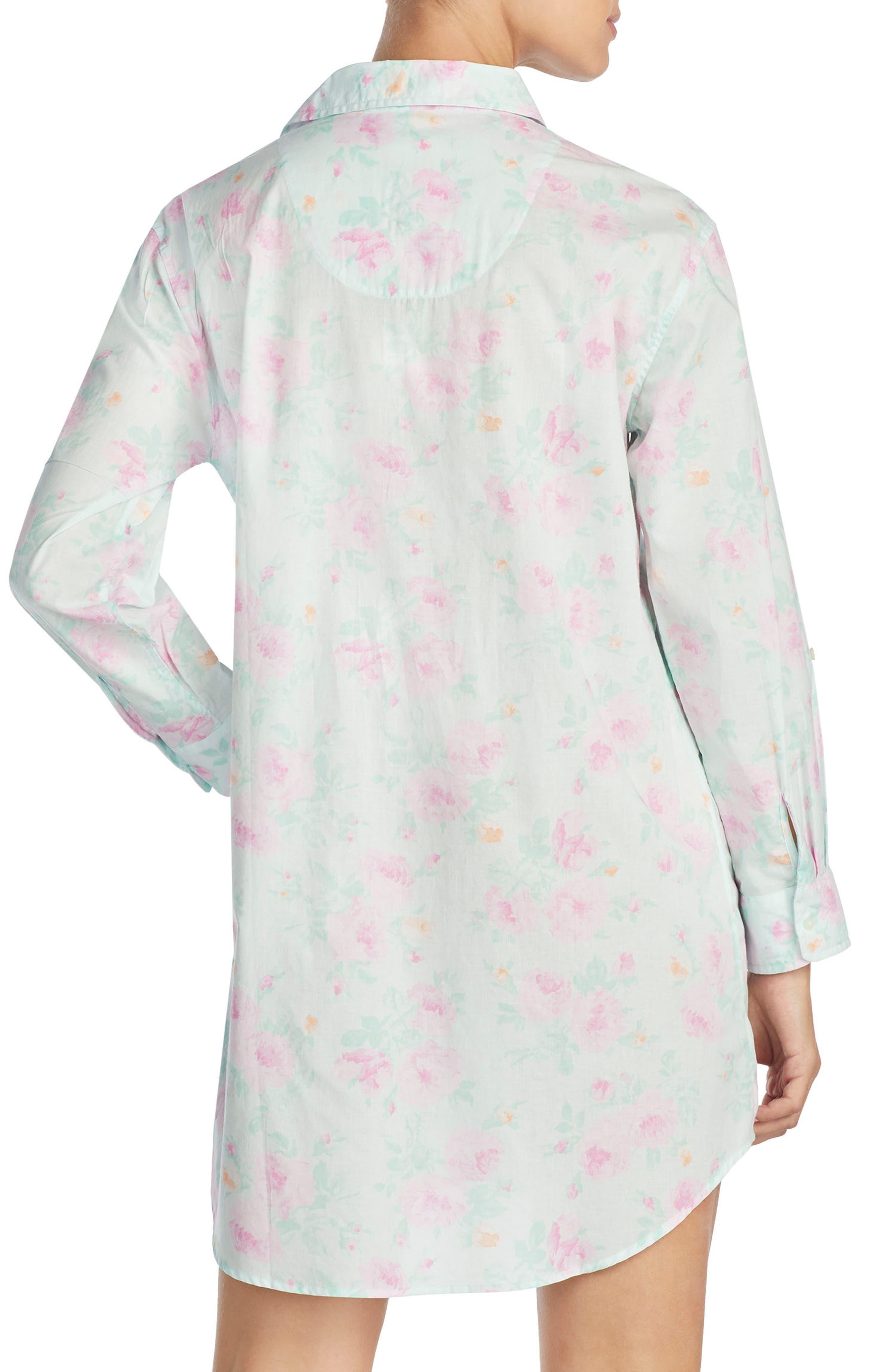 Print Sleep Shirt,                             Alternate thumbnail 2, color,                             Mint/ Pink Flower