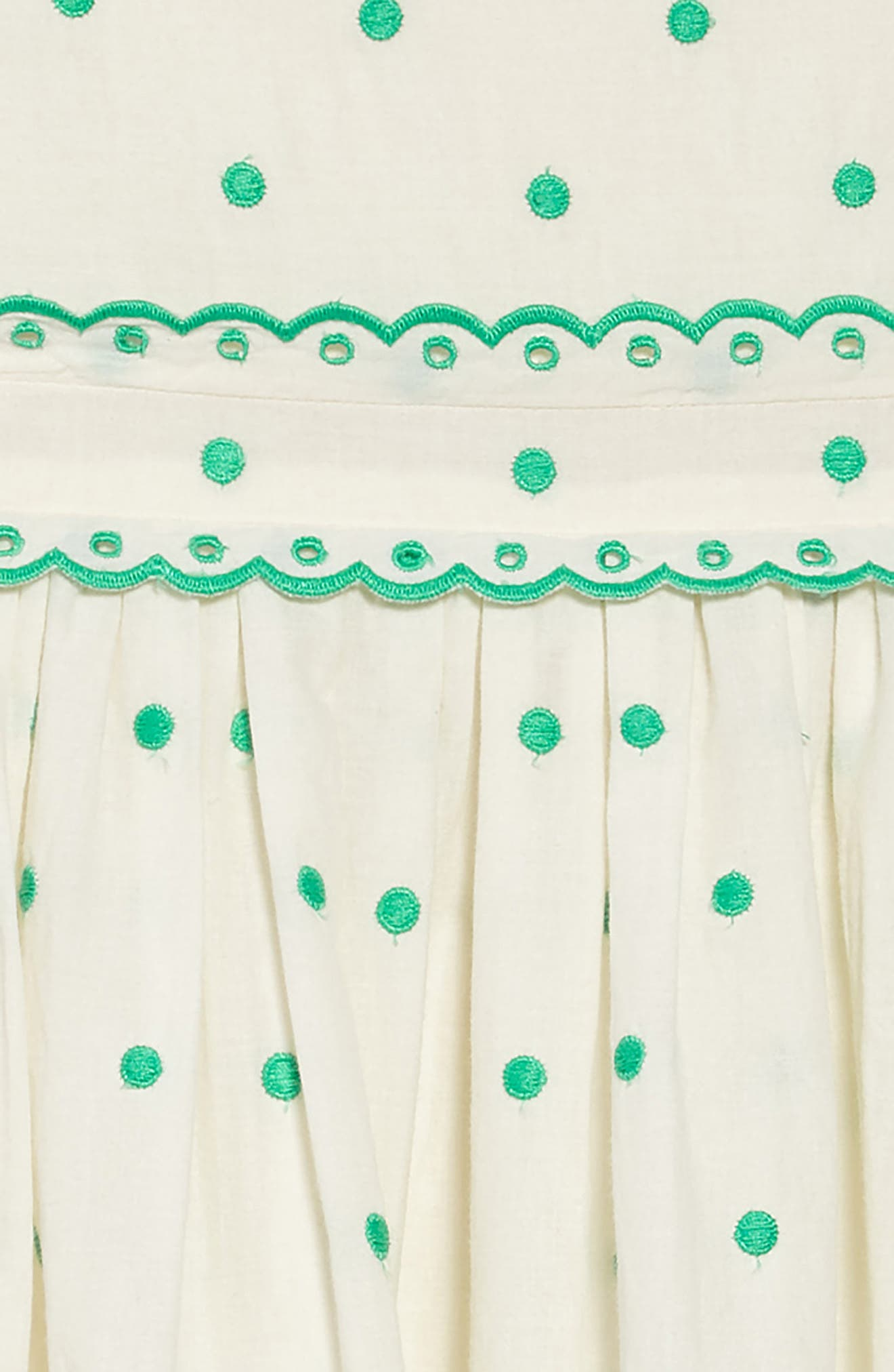 Embroidered Dot Scalloped Dress,                             Alternate thumbnail 3, color,                             Sptecru/ Mint Embroidered Spot