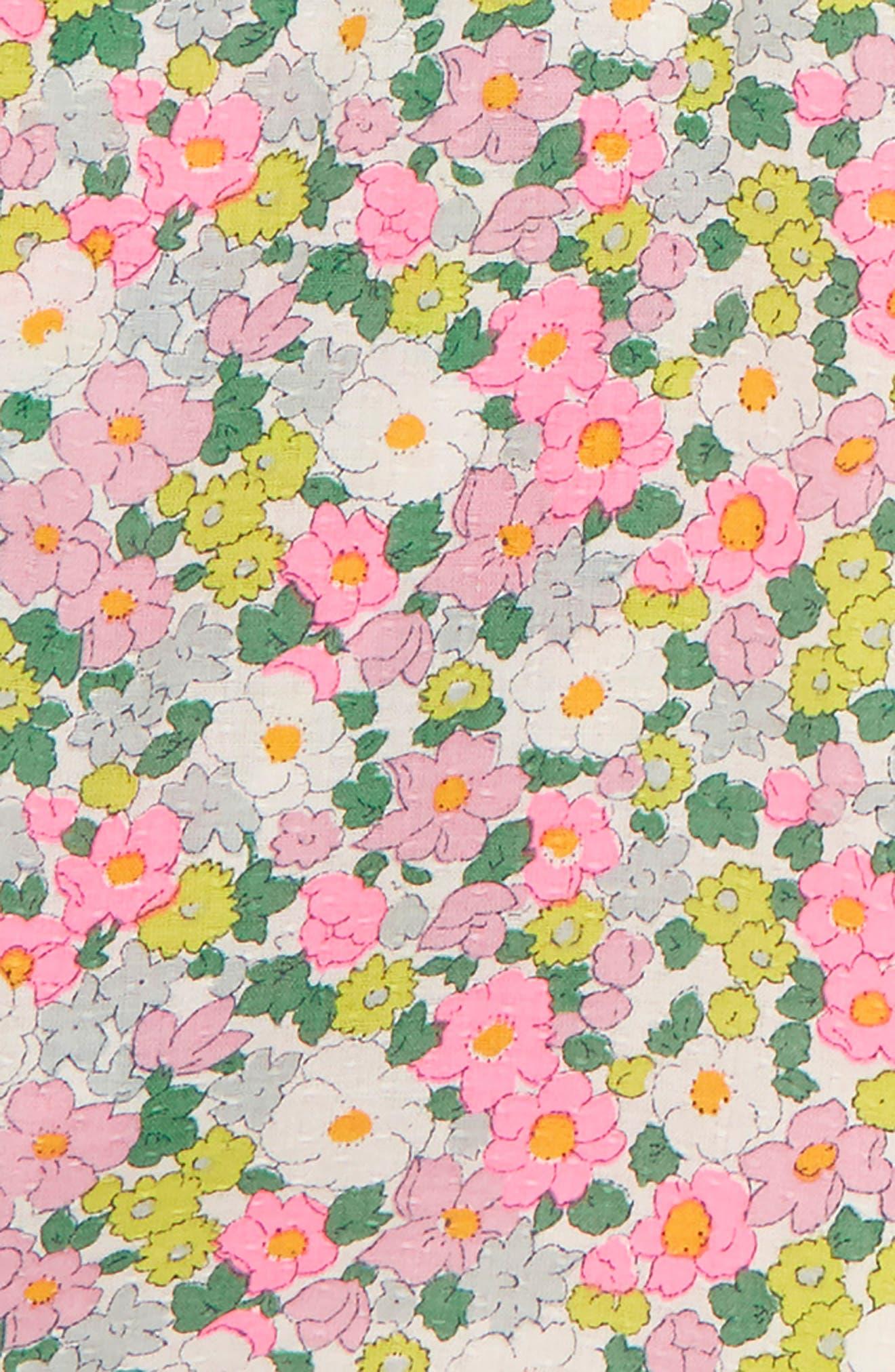 Floral Pompom Trim Romper,                             Alternate thumbnail 2, color,                             Knockout Pink Vintage Floral