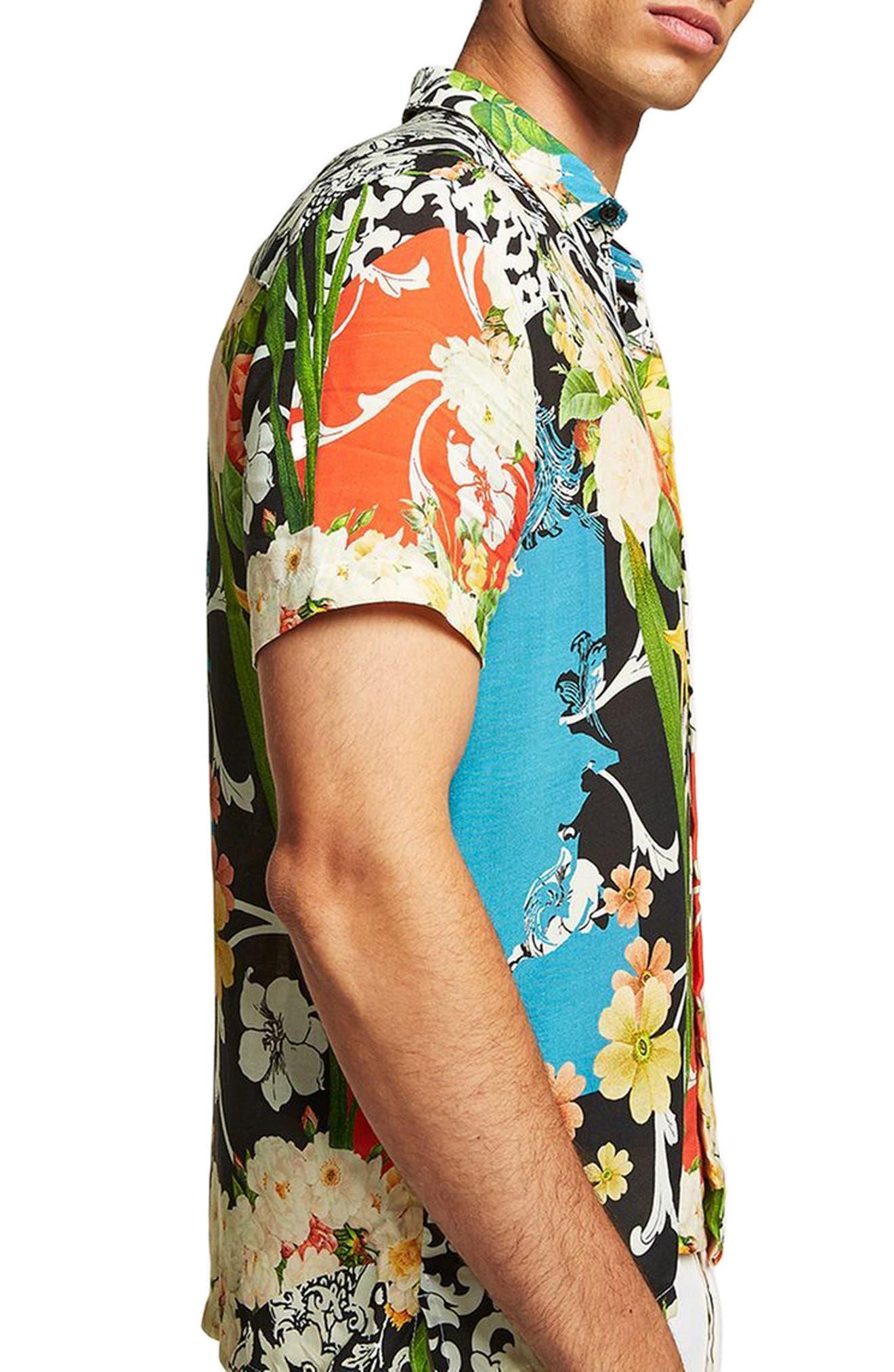 Floral Print Shirt,                             Alternate thumbnail 4, color,                             Black Multi