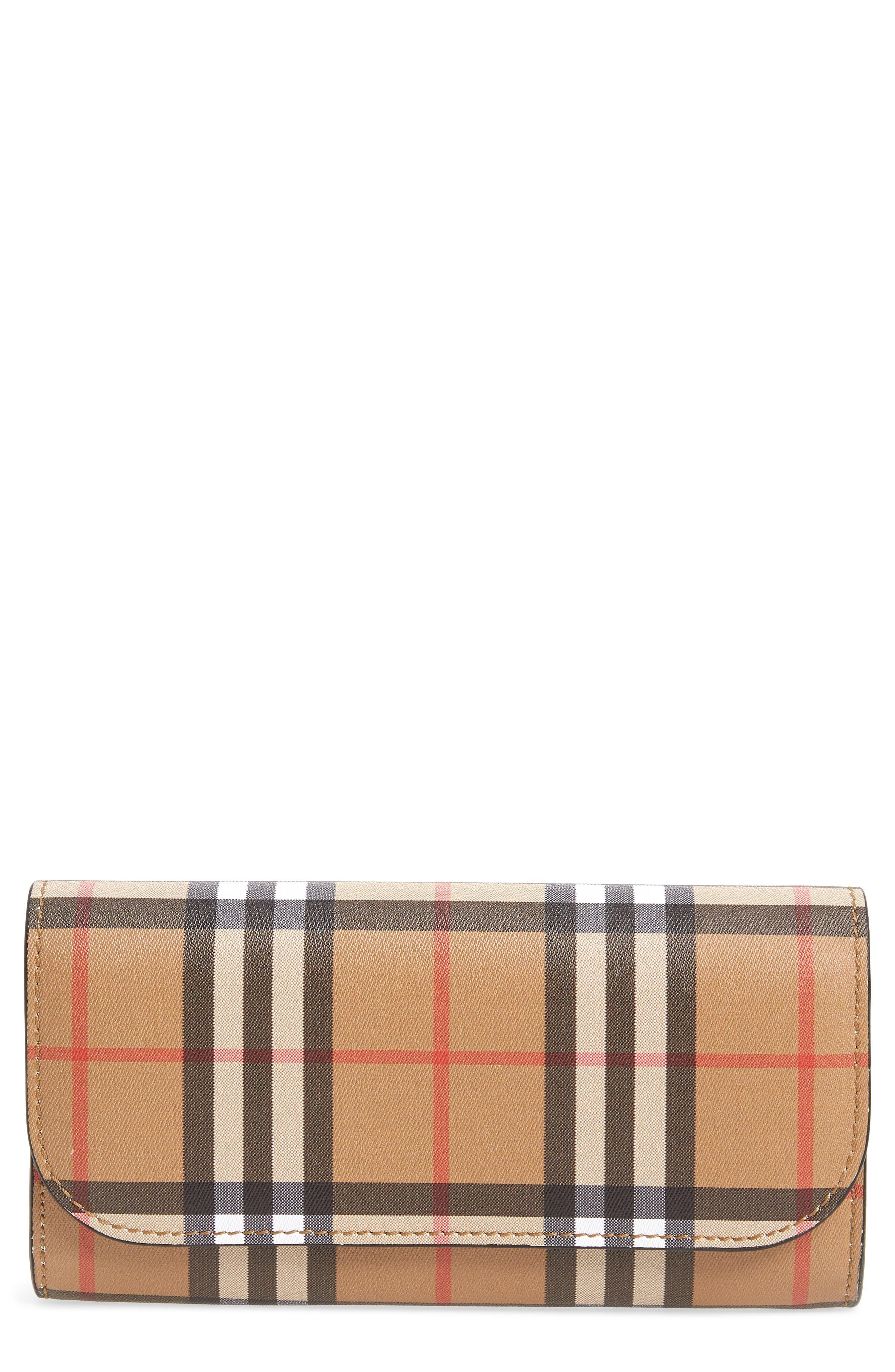 Main Image - Burberry Halton Check Continental Wallet