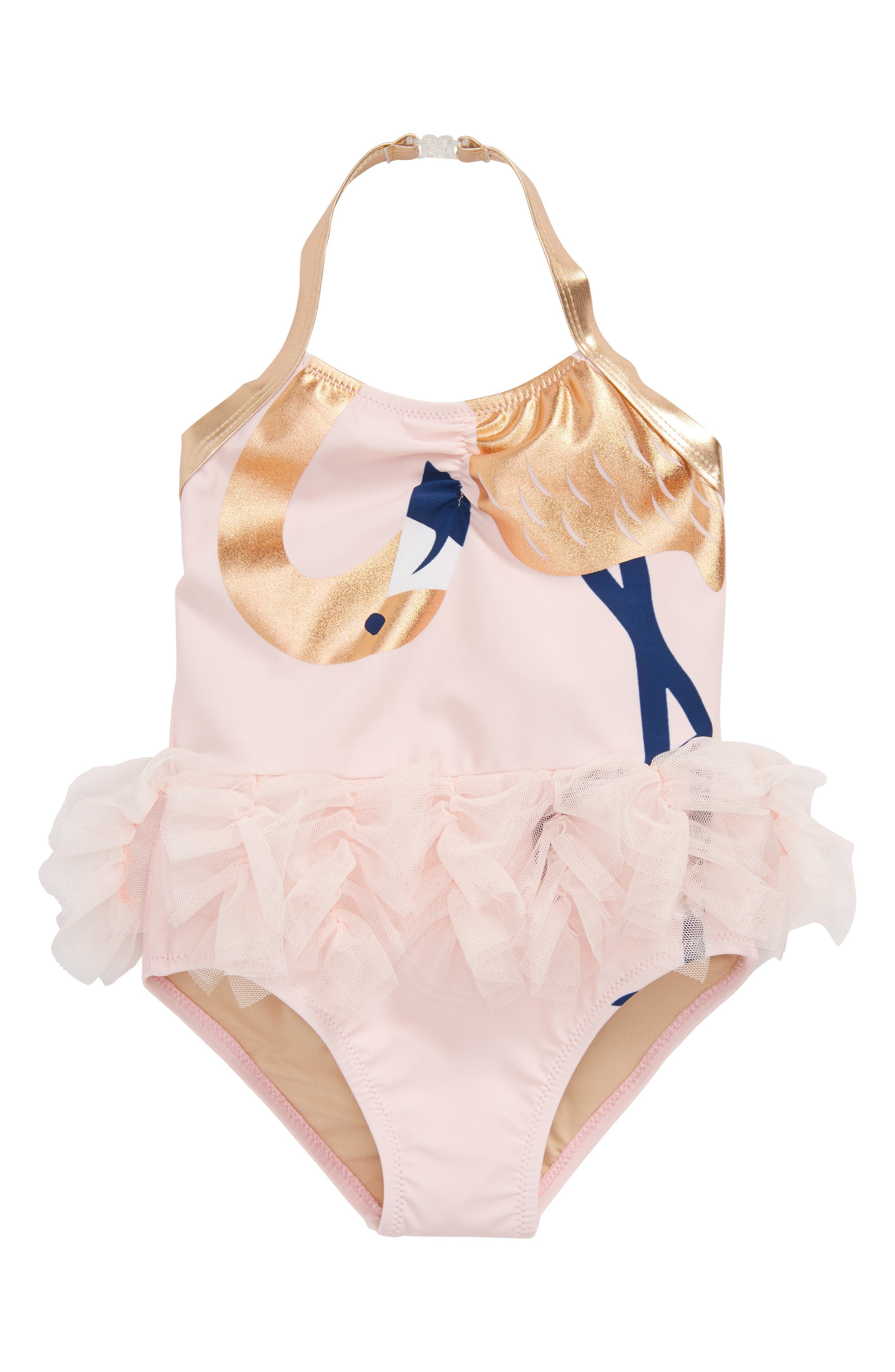 Let's Flamingle One-Piece Halter Swimsuit,                             Main thumbnail 1, color,                             Pink