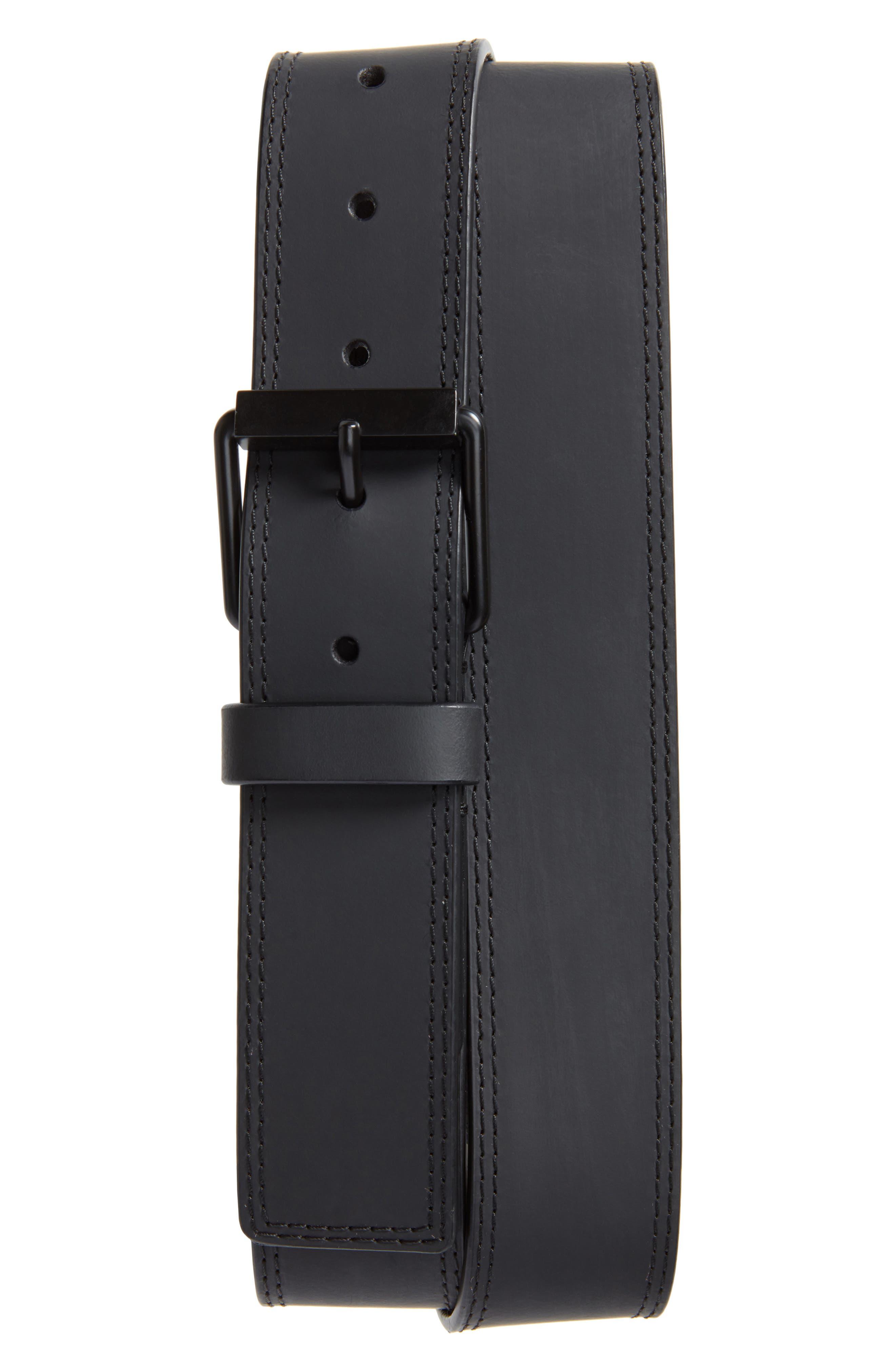 Rubberized Leather Belt,                             Main thumbnail 1, color,                             Ultimate Black