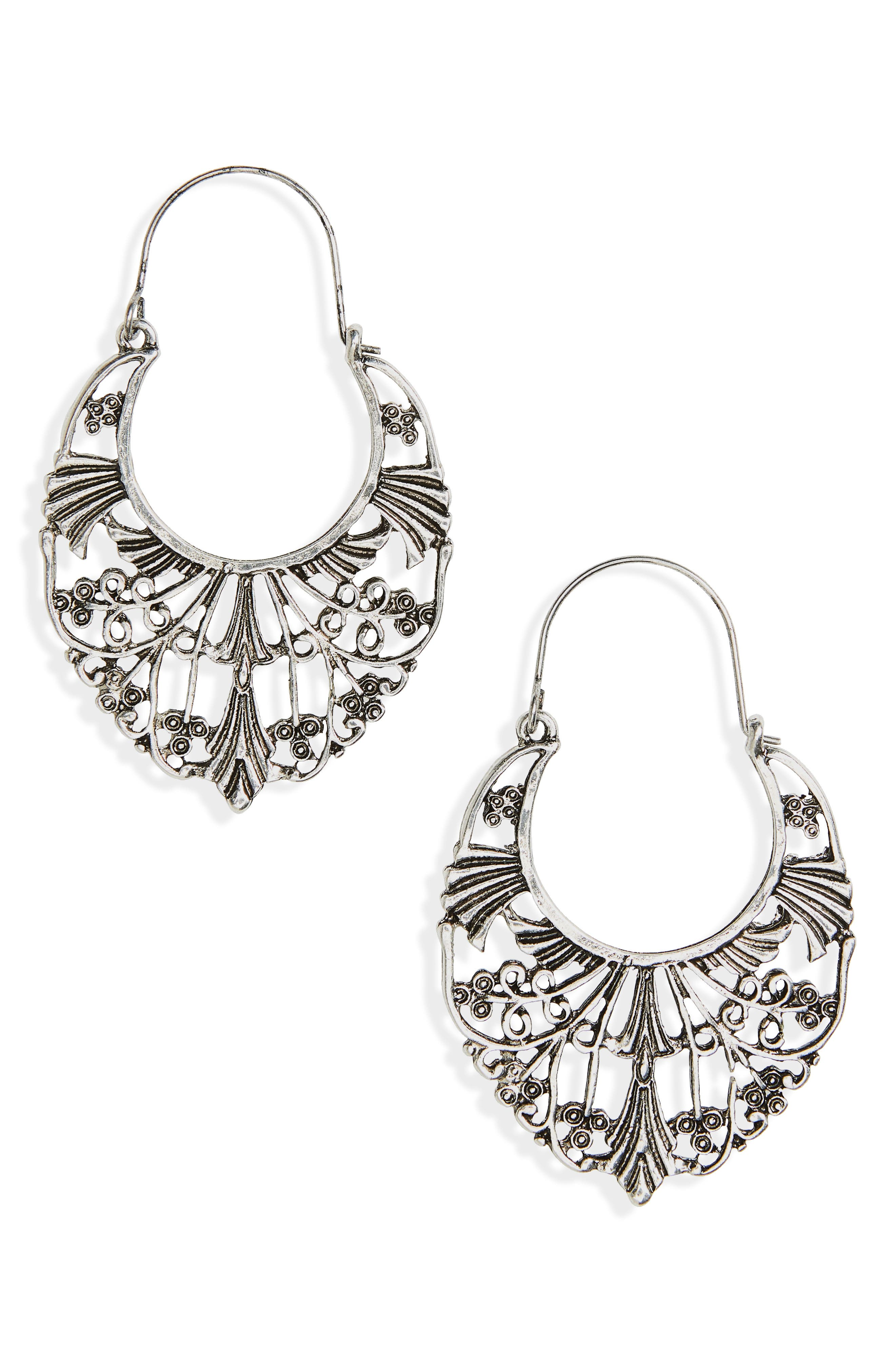 Ornate Statement Earrings,                         Main,                         color, Silver